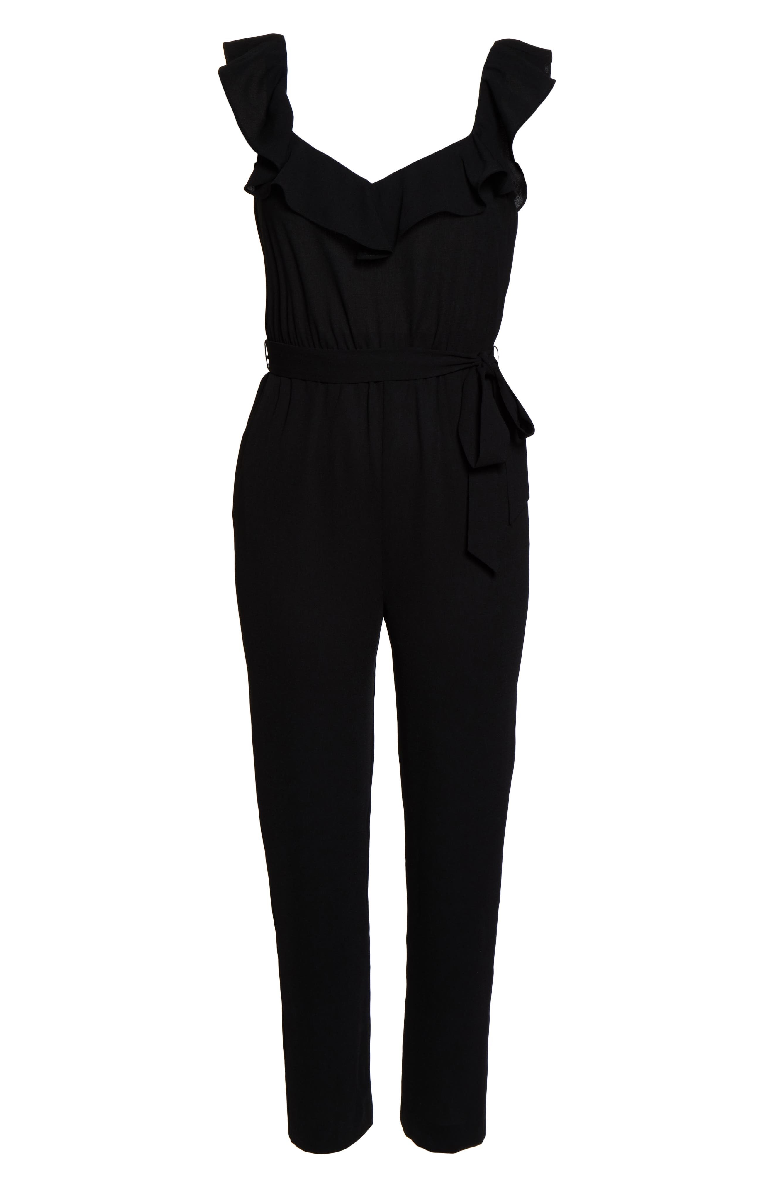ALI & JAY, Say You Will Stay Crepe Jumpsuit, Alternate thumbnail 7, color, BLACK