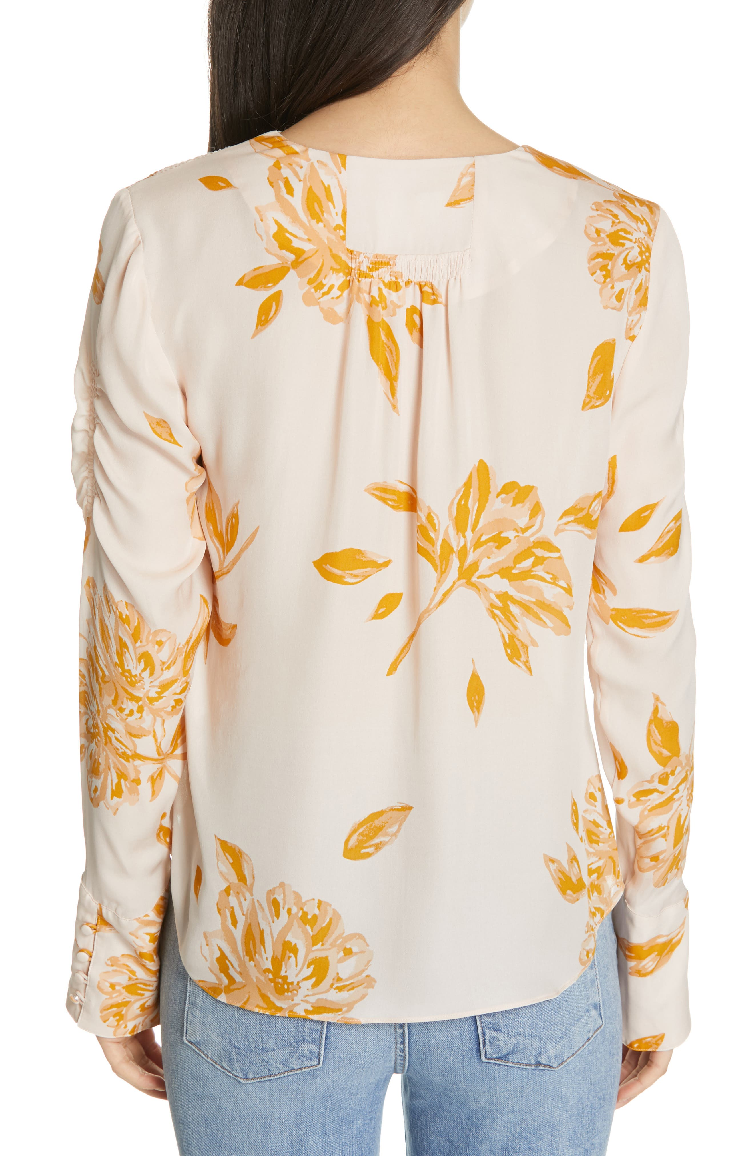 JOIE, Galvin Floral Silk Top, Alternate thumbnail 2, color, SHIMMER