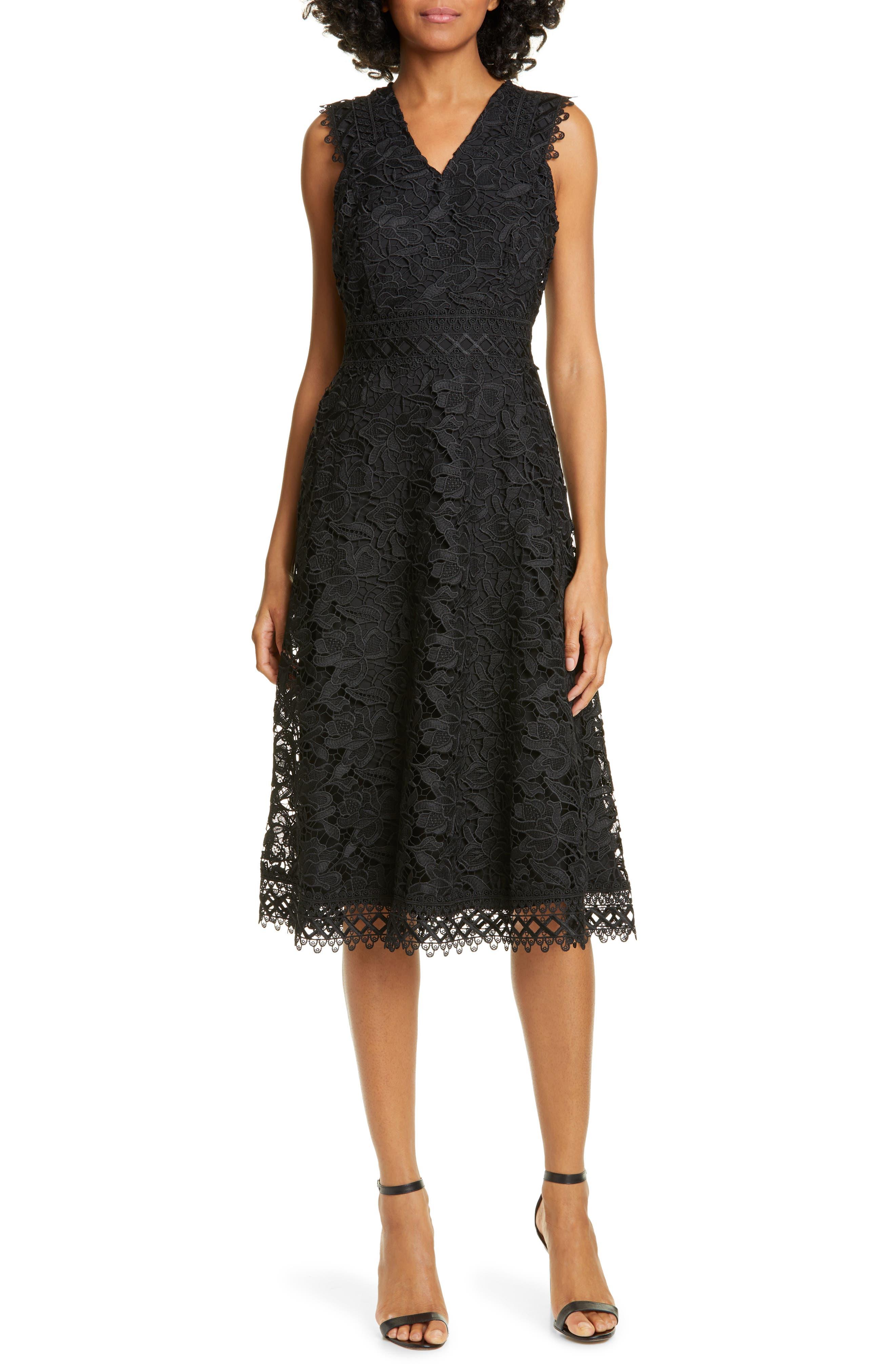 Ted Baker London Questy Sleeveless Lace Midi Dress, Black