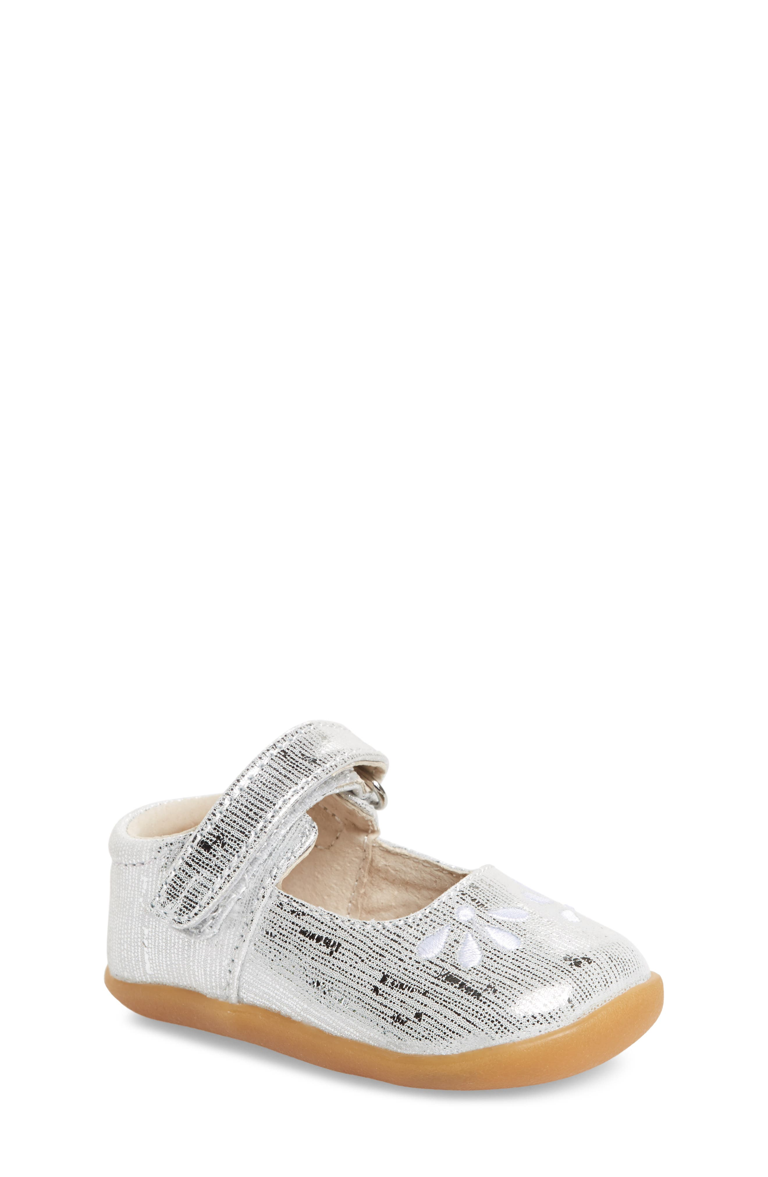 SEE KAI RUN Ginny Embroidered Metallic Mary Jane, Main, color, SILVER