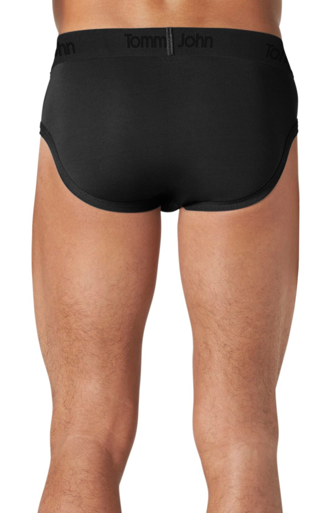 TOMMY JOHN, Second Skin Briefs, Alternate thumbnail 2, color, BLACK