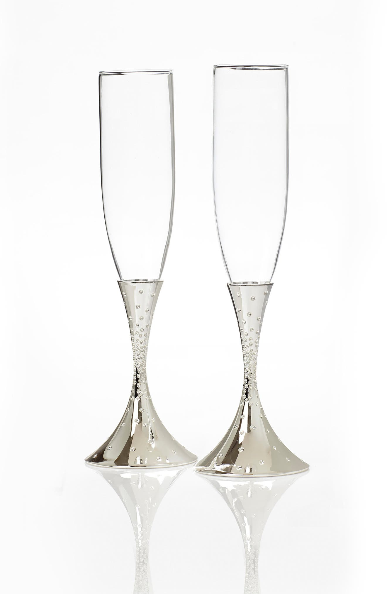 NAMBÉ, 'Dazzle' Champagne Toasting Flutes, Alternate thumbnail 2, color, SILVER/ GLASS
