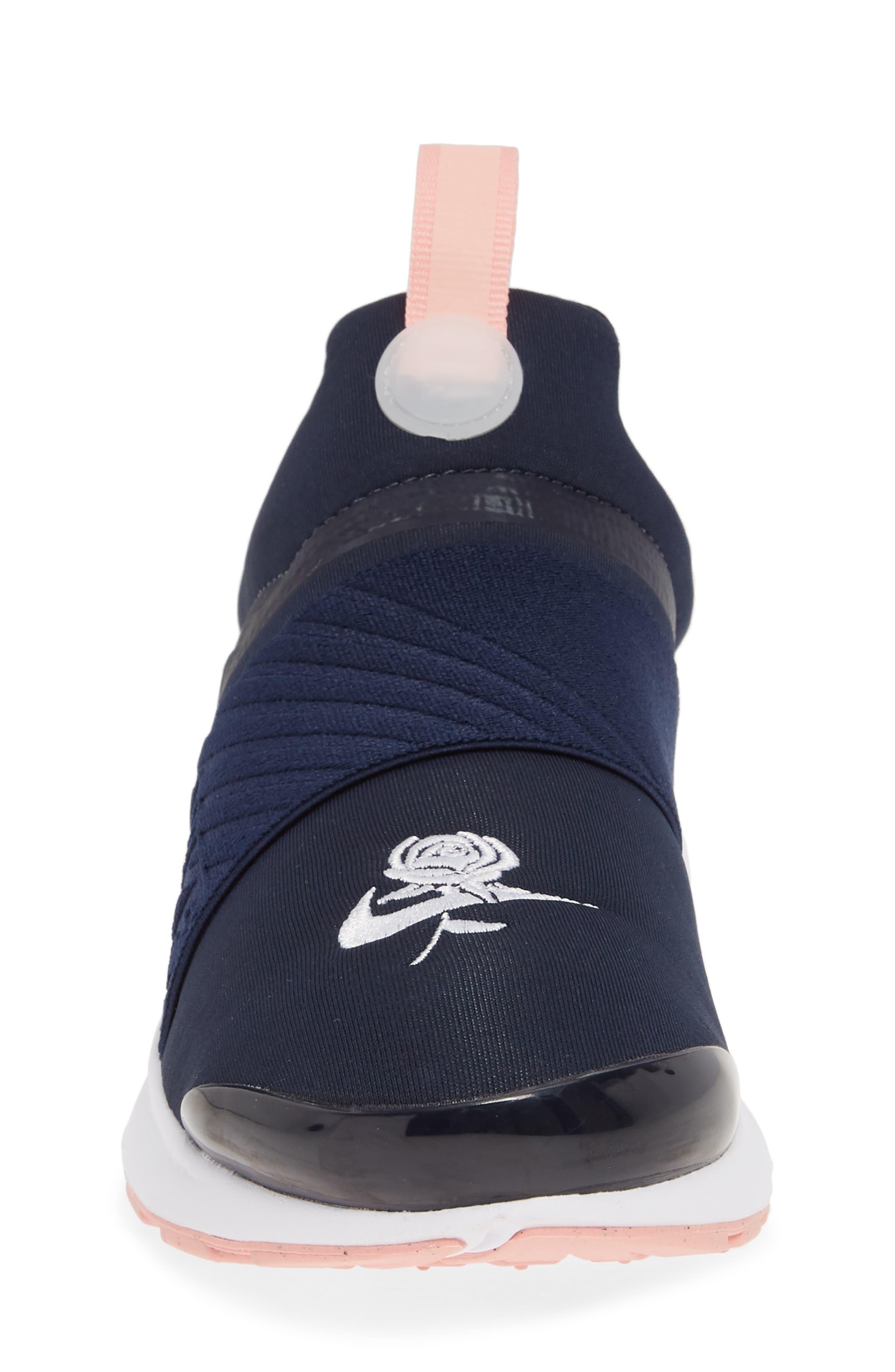 NIKE, Presto Extreme VDAY Sneaker, Alternate thumbnail 4, color, OBSIDIAN/ BLEACHED CORAL-WHITE