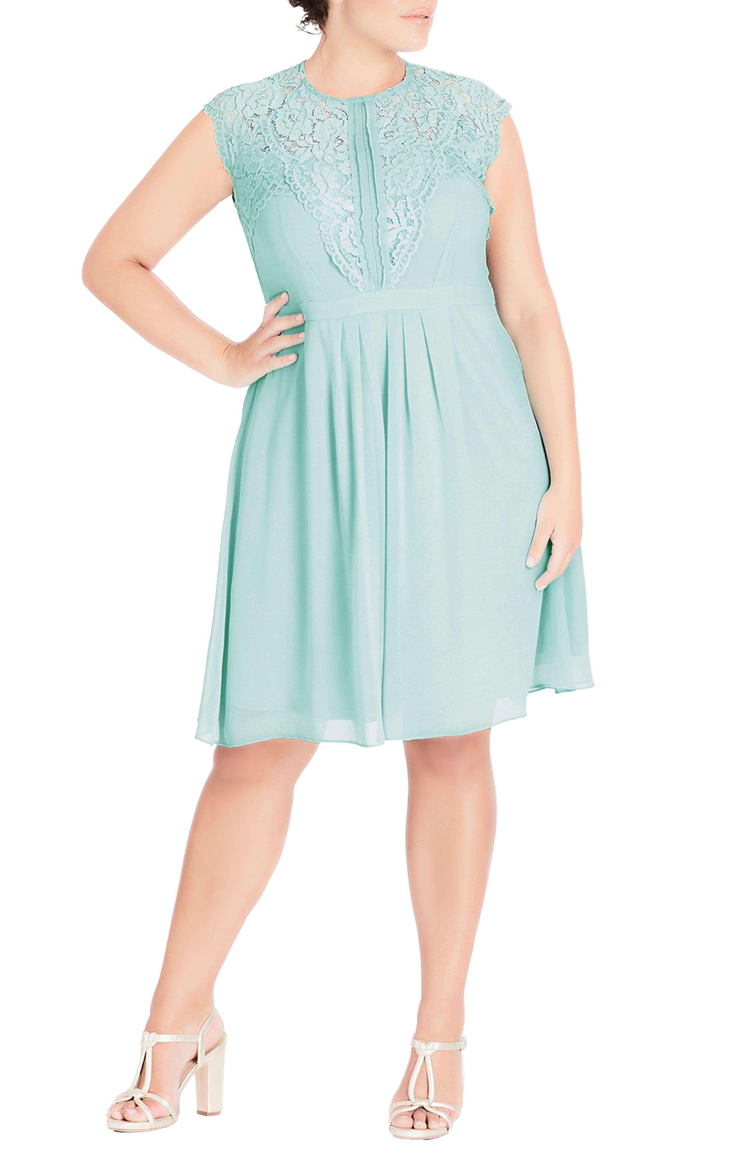 Plus Size City Chic Lace & Chiffon Dress, Green