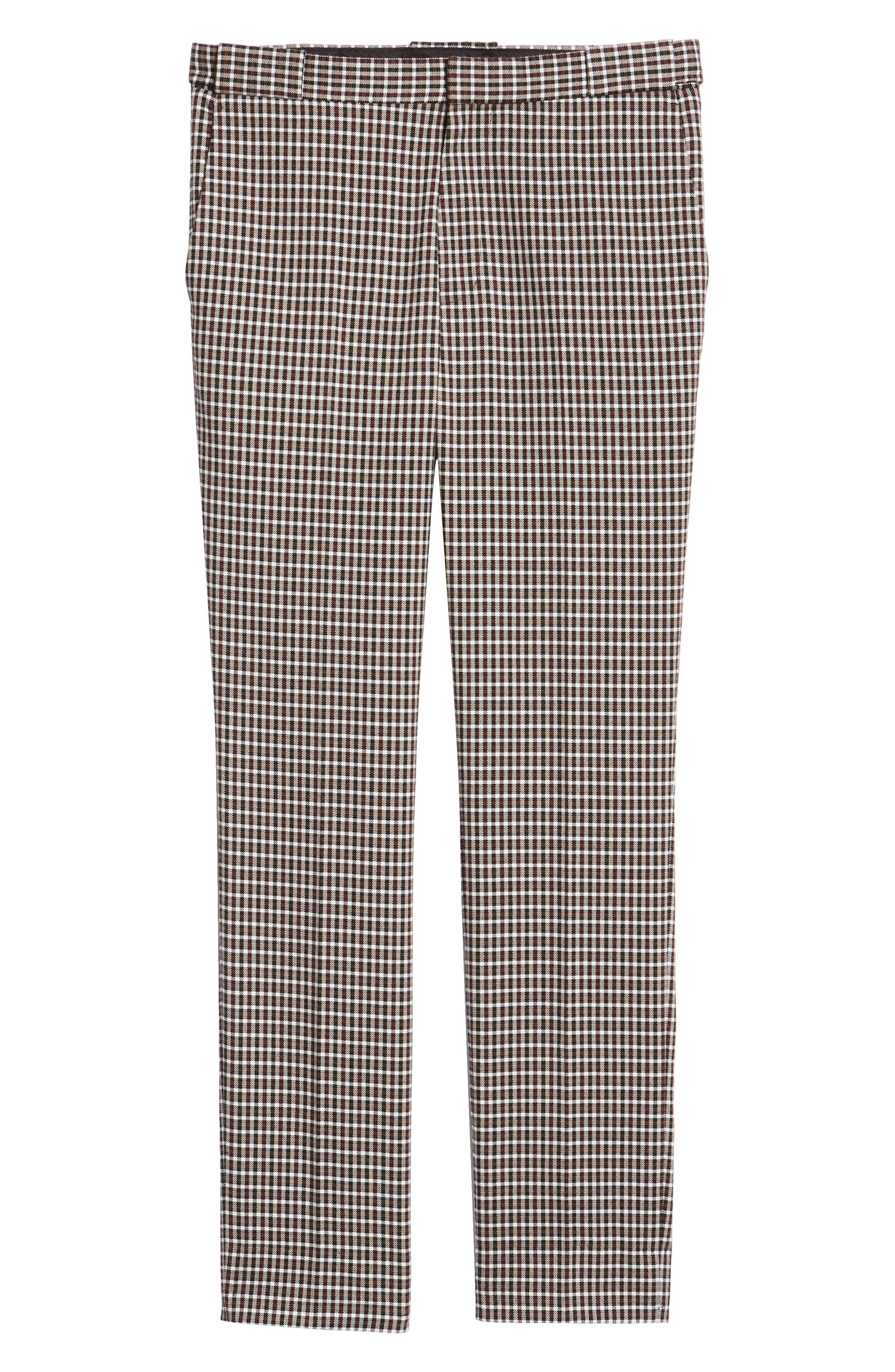 TOPMAN, Multicheck Skinny Fit Trousers, Alternate thumbnail 6, color, BLACK MULTI