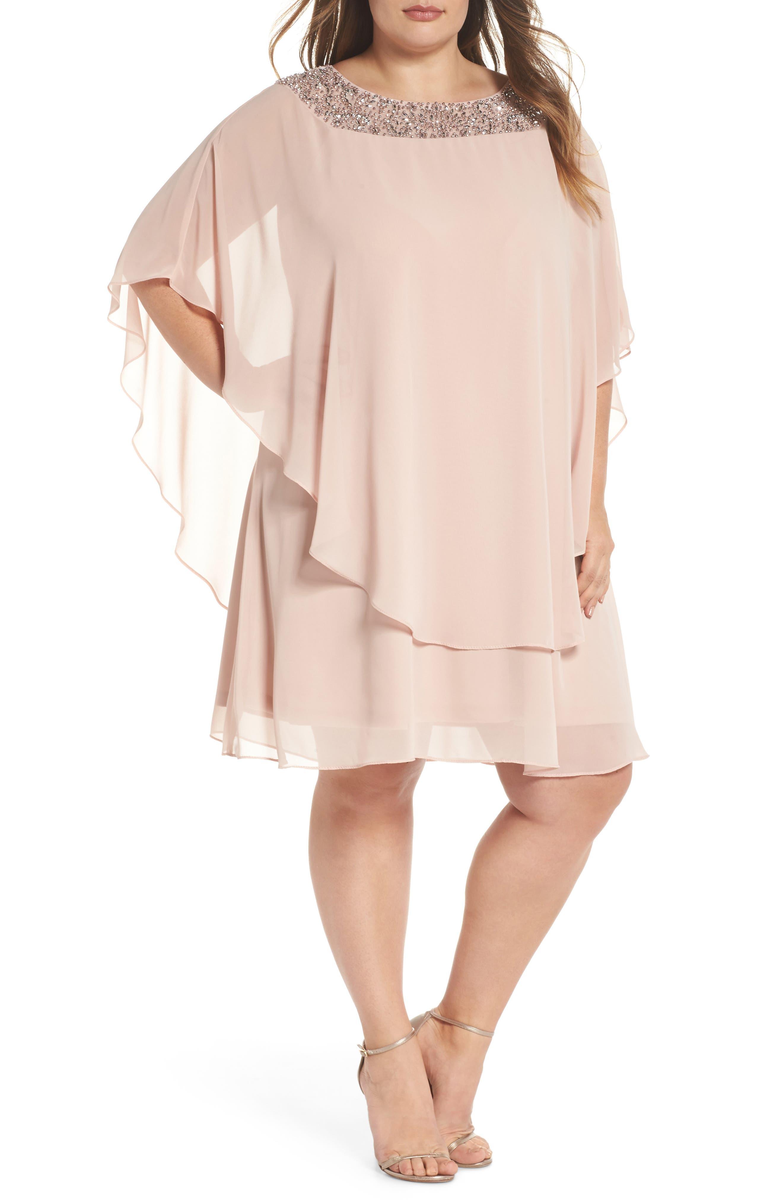 XSCAPE, Beaded Neck Chiffon Overlay Dress, Main thumbnail 1, color, BLUSH/ SILVER