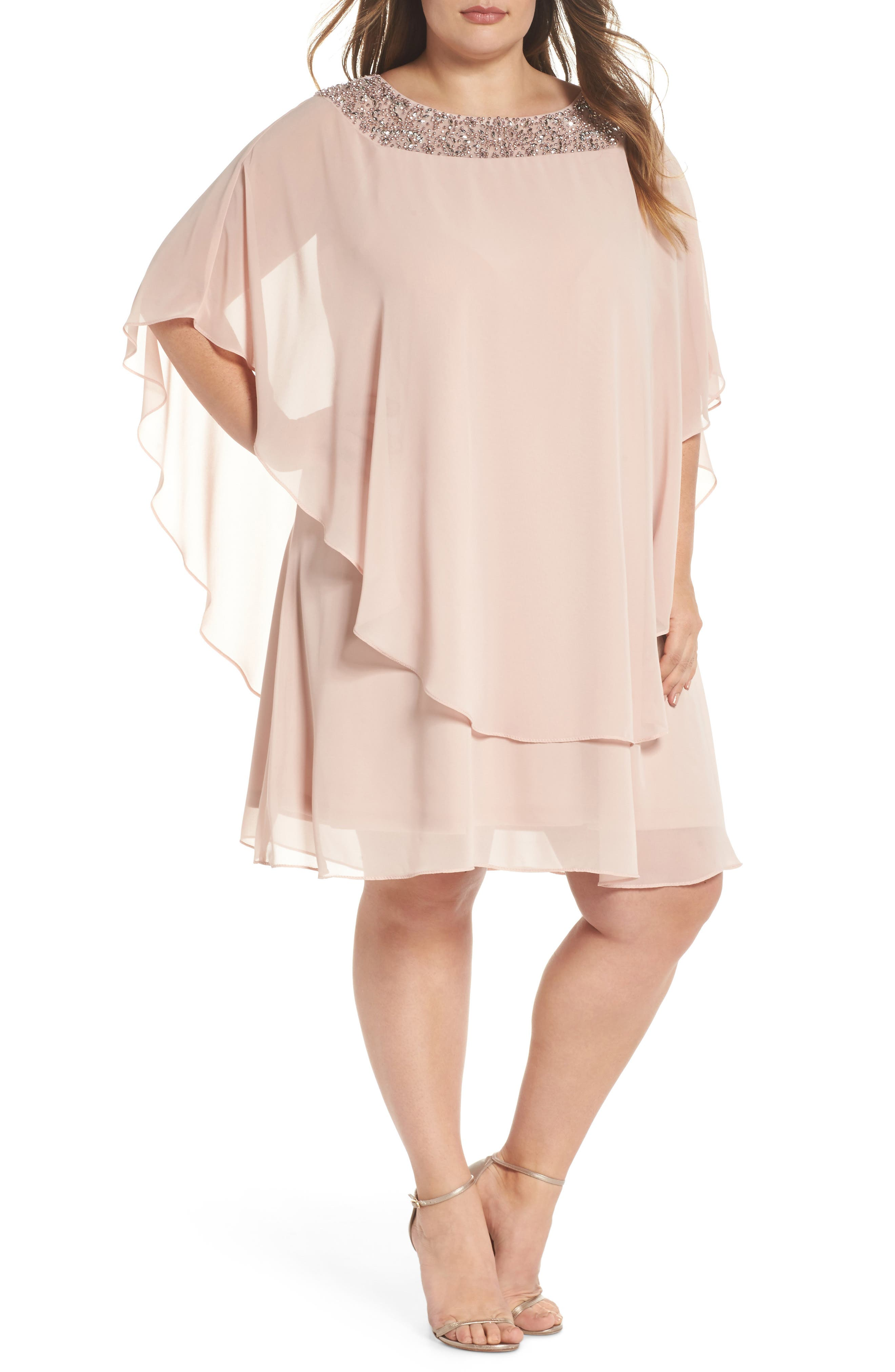 XSCAPE Beaded Neck Chiffon Overlay Dress, Main, color, BLUSH/ SILVER