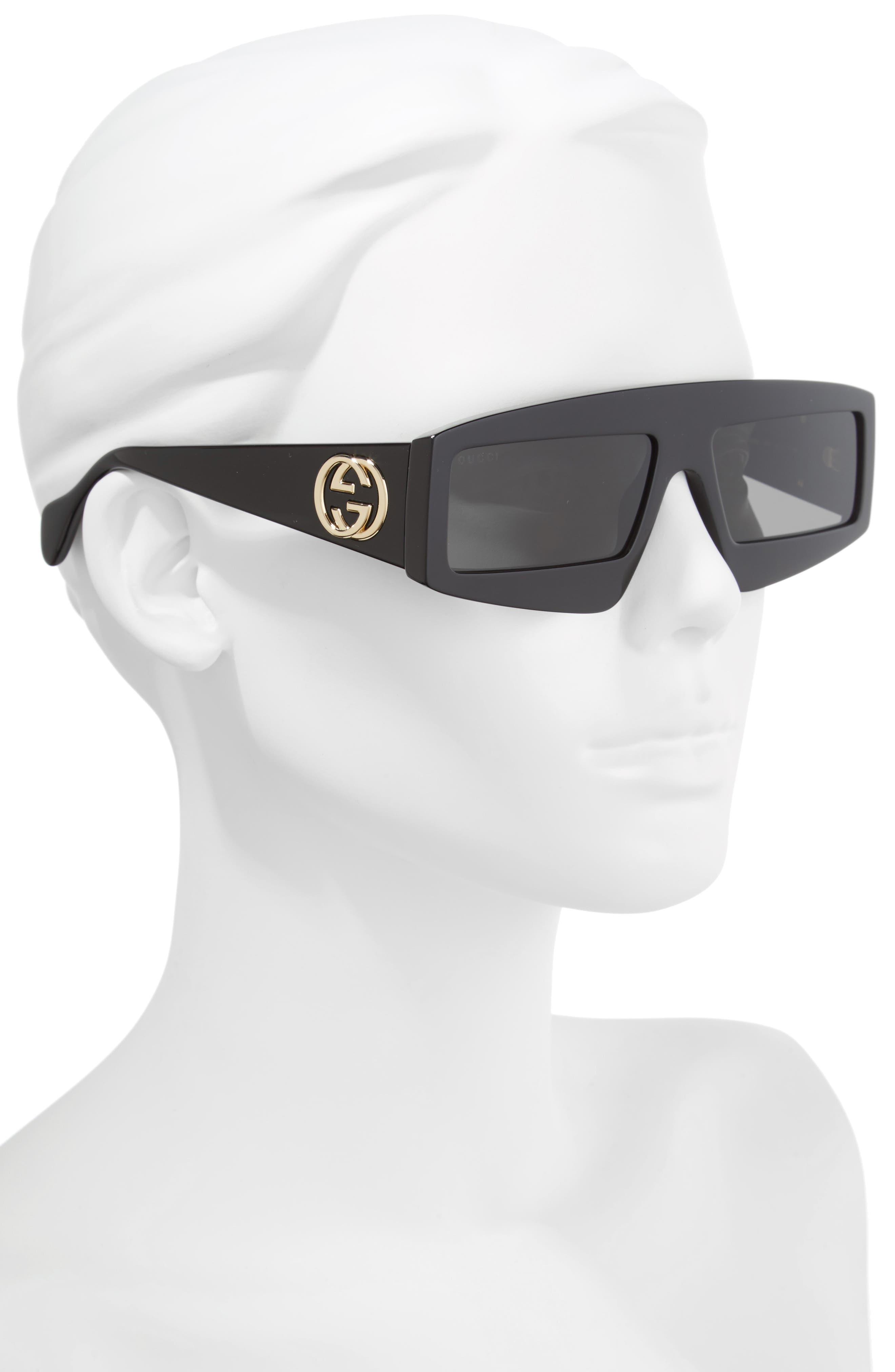 GUCCI, 61mm Shield Sunglasses, Alternate thumbnail 2, color, 001