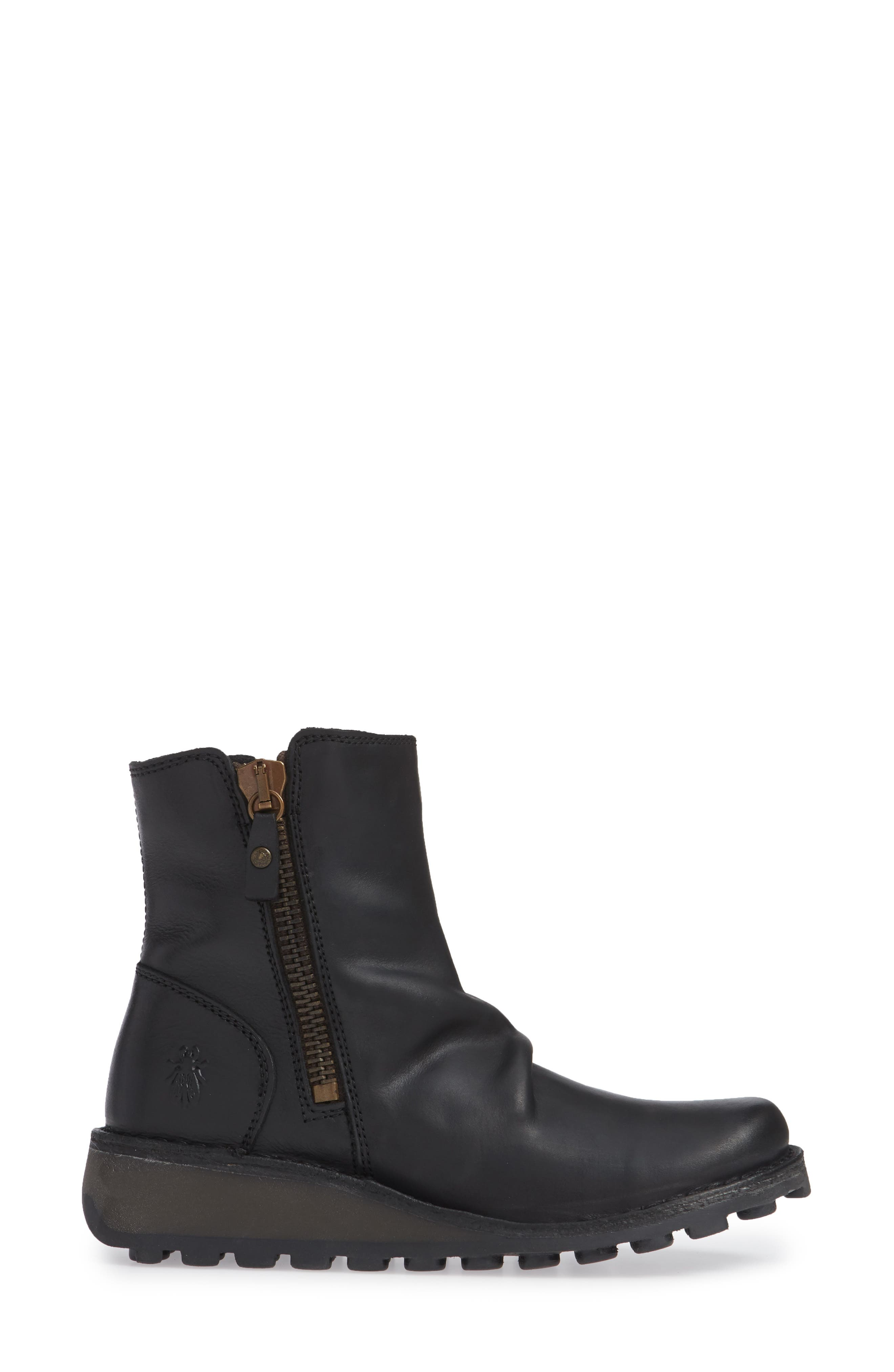 FLY LONDON, Mong Boot, Alternate thumbnail 3, color, BLACK LEATHER
