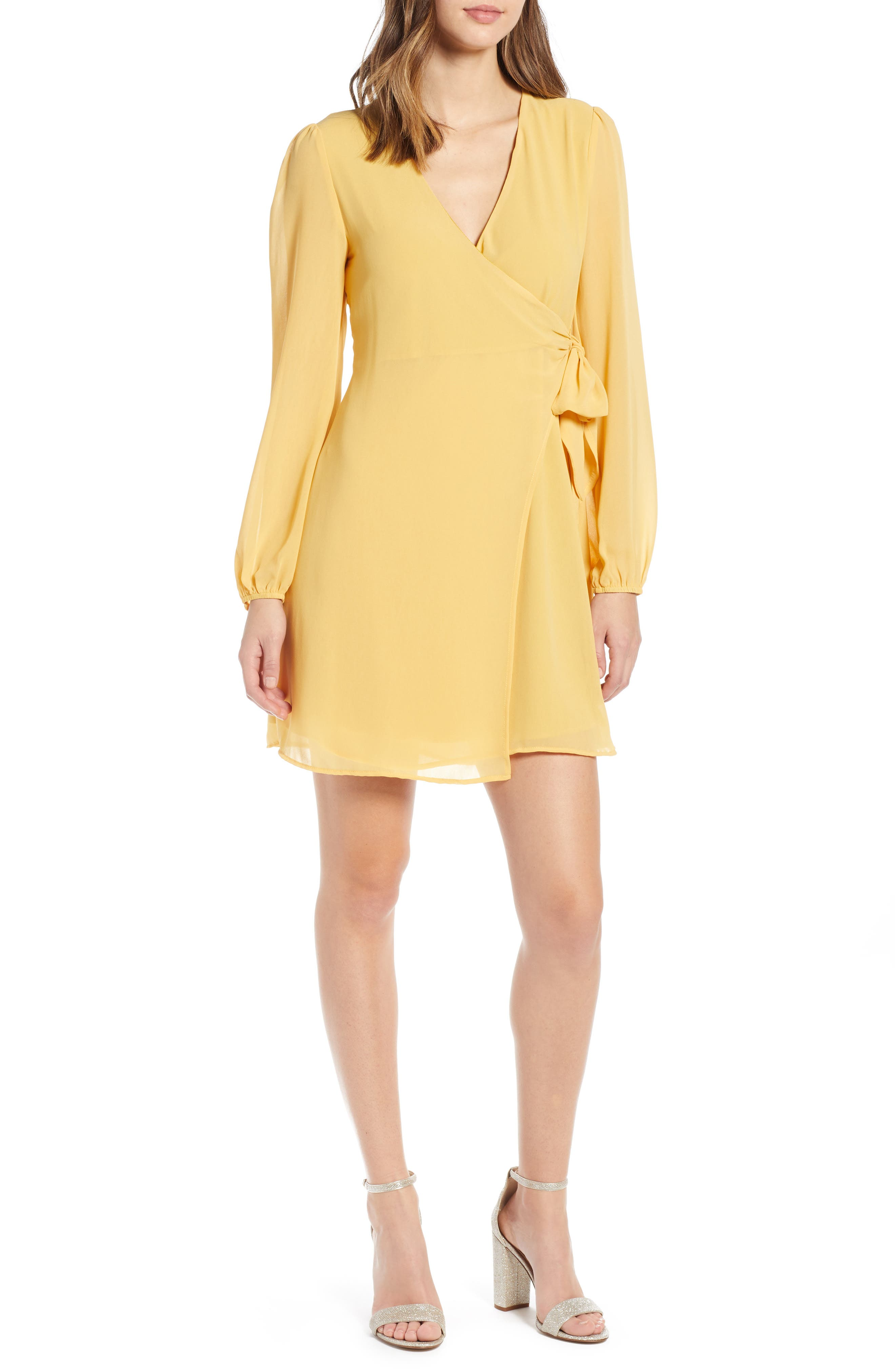 ROW A Faux Wrap Dress, Main, color, MUSTARD SOLID