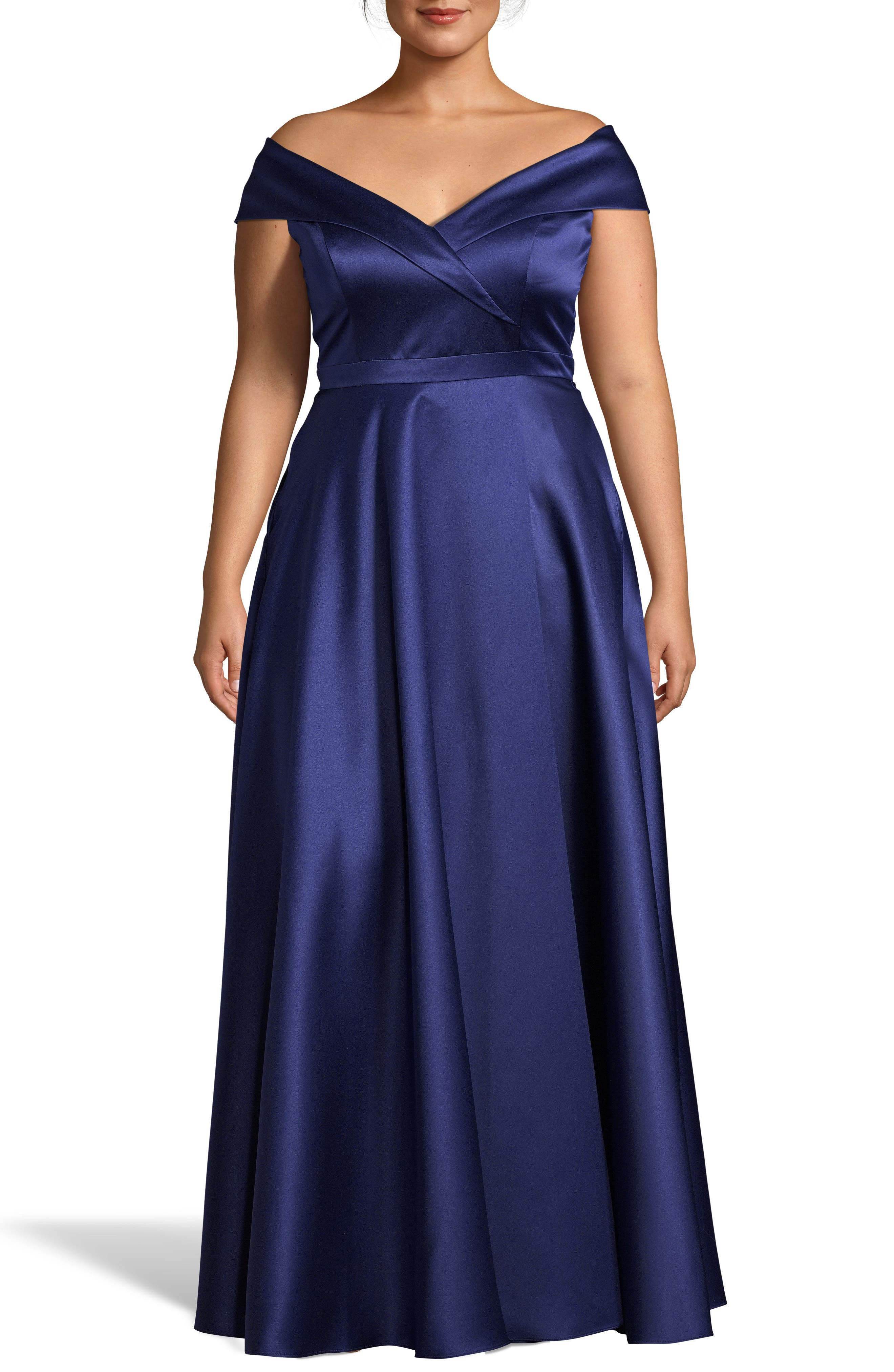Plus Size Xscape Off The Shoulder Satin Ballgown, Blue