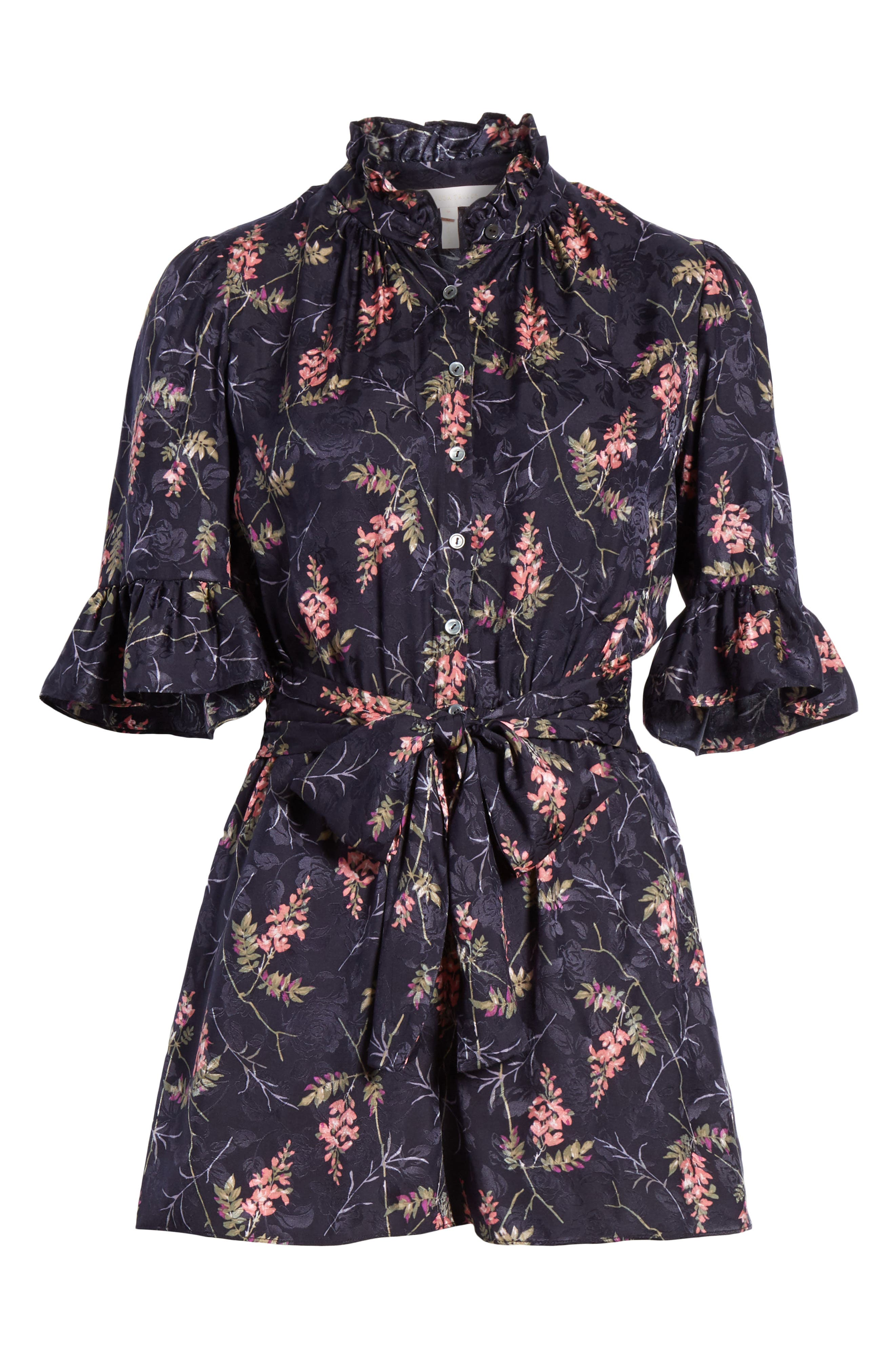 REBECCA TAYLOR, Ivie Floral Silk Blend Romper, Alternate thumbnail 7, color, NAVY COMBO