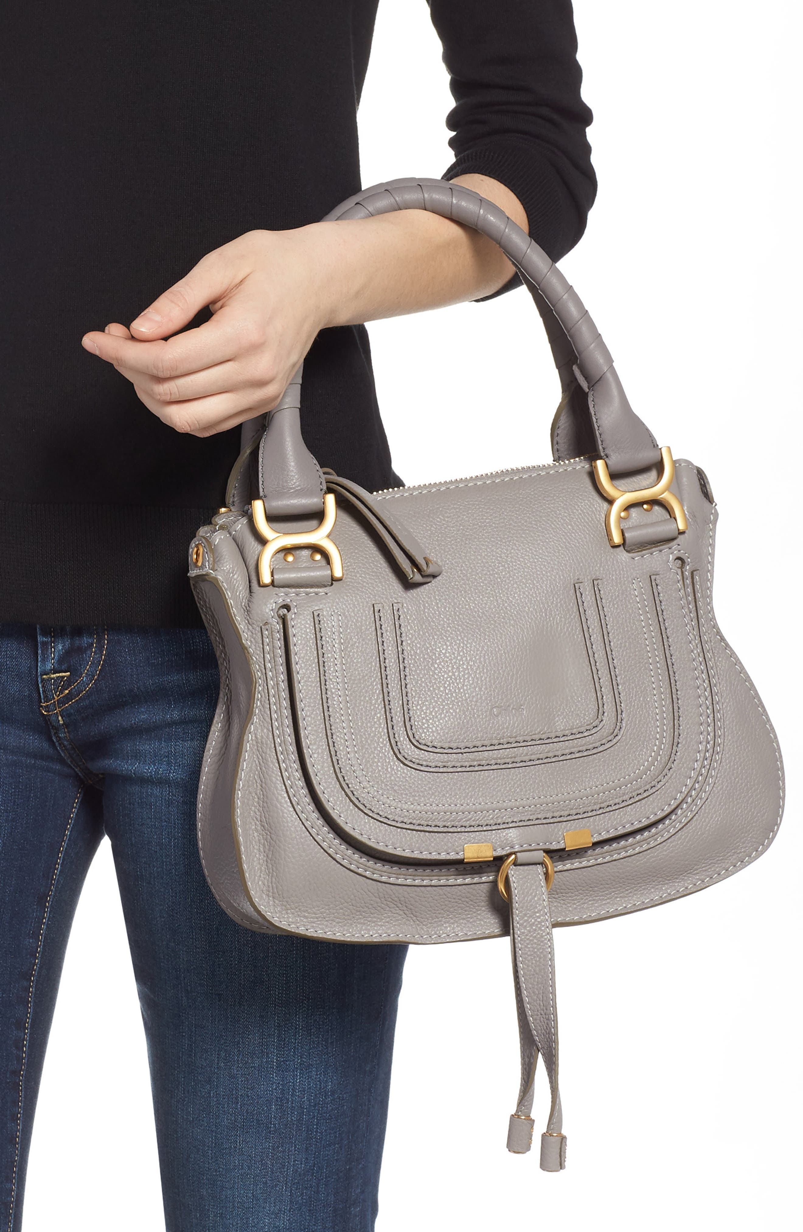 CHLOÉ, Marcie Small Double Carry Bag, Alternate thumbnail 2, color, CASHMERE GREY