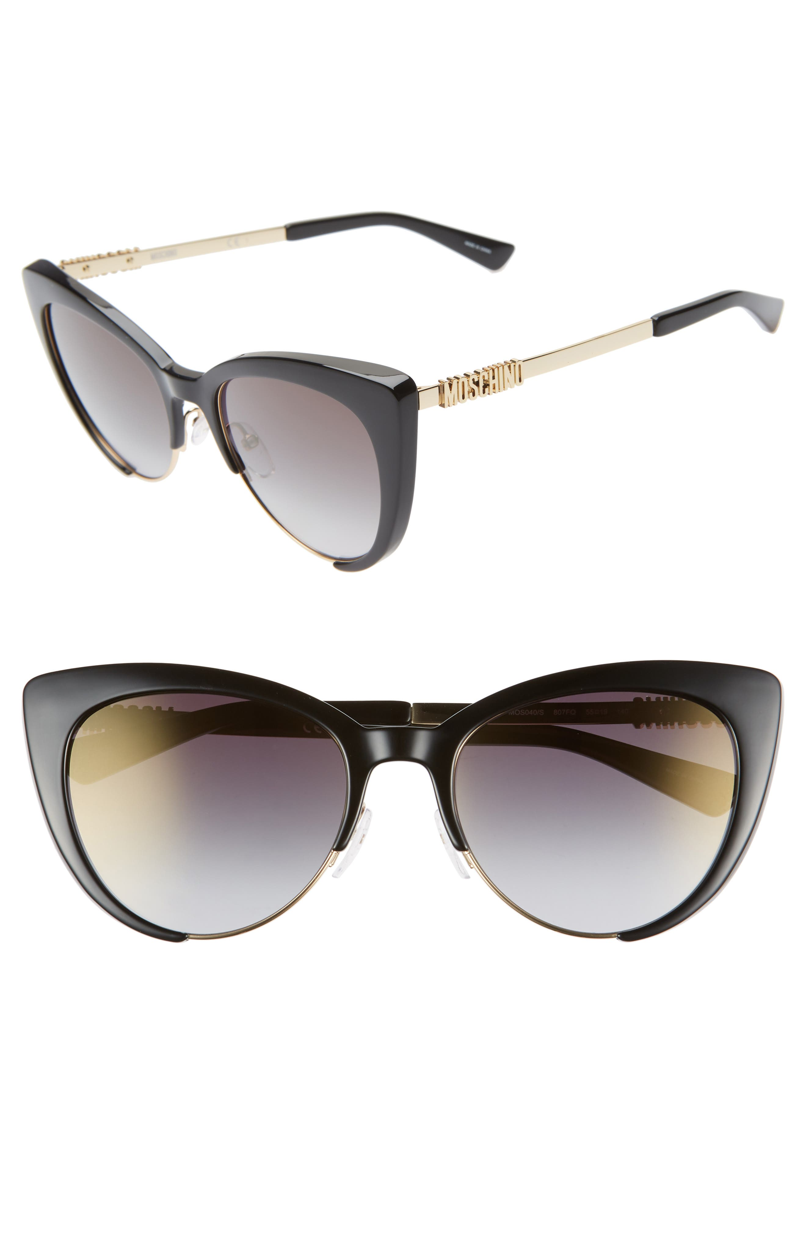 MOSCHINO, 55mm Cat Eye Sunglasses, Main thumbnail 1, color, BLACK