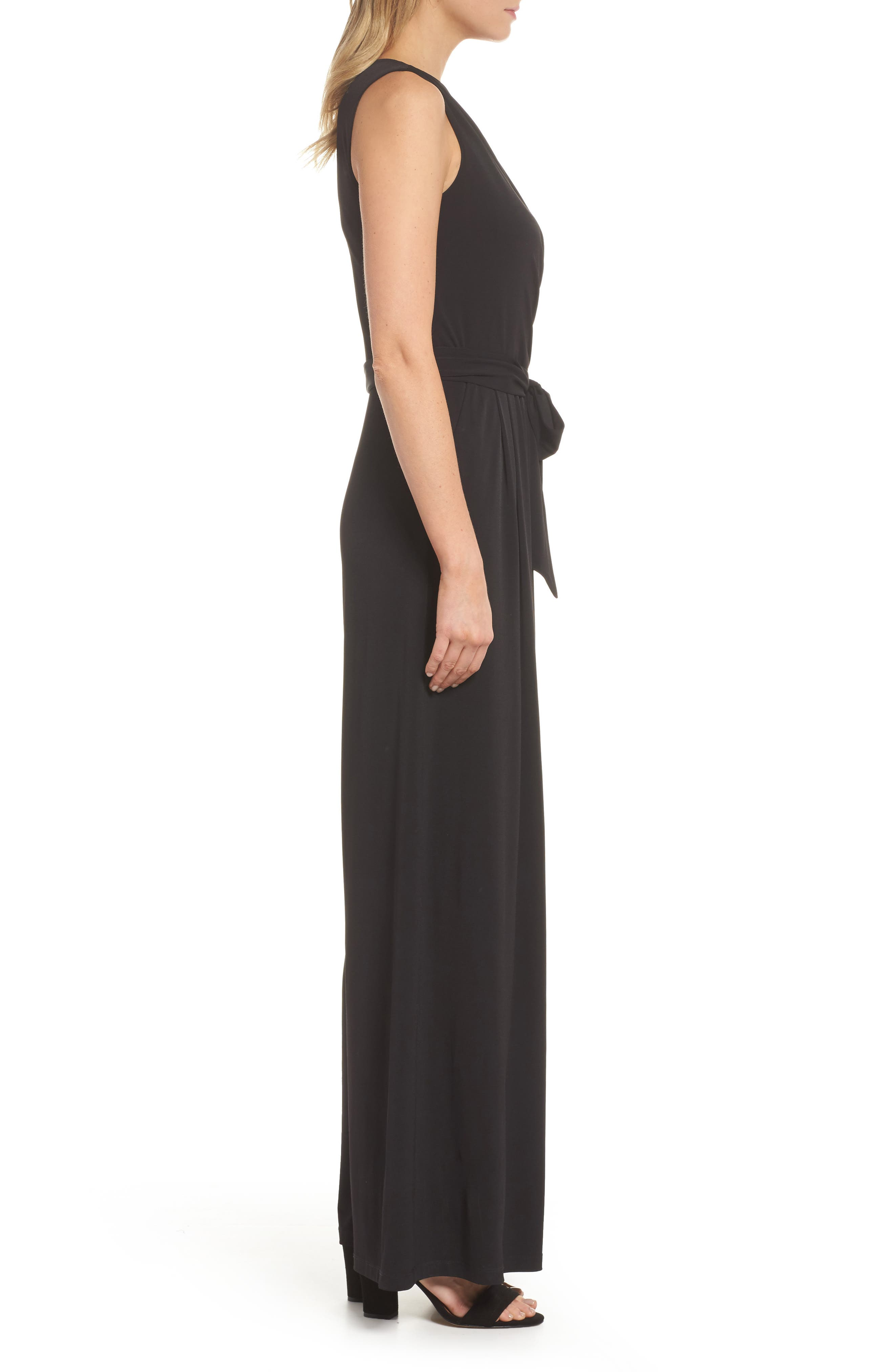 ELIZA J, Faux Wrap Wide Leg Jumpsuit, Alternate thumbnail 4, color, BLACK