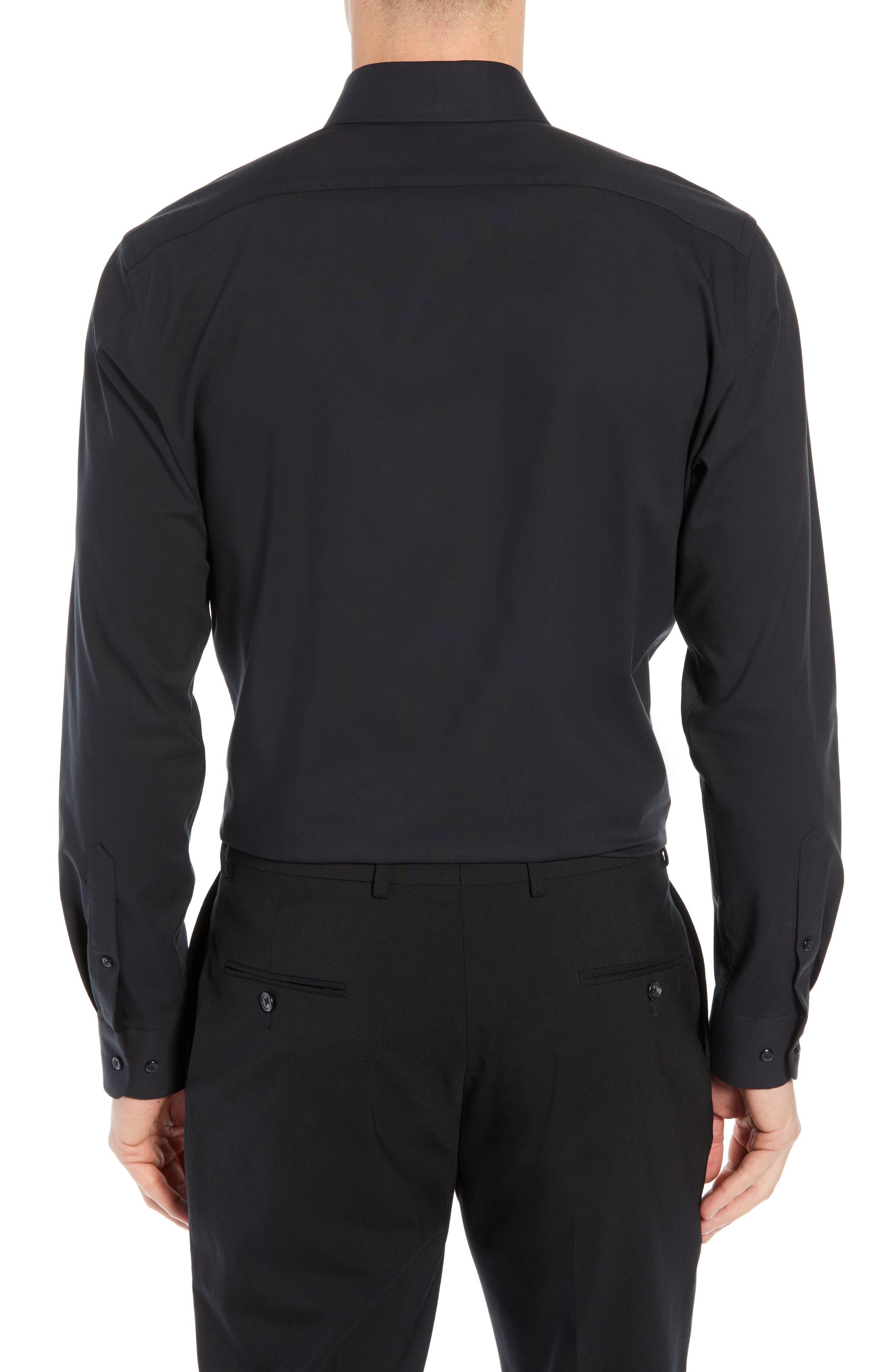 NORDSTROM MEN'S SHOP, Tech-Smart Trim Fit Stretch Pinpoint Dress Shirt, Alternate thumbnail 3, color, BLACK ROCK