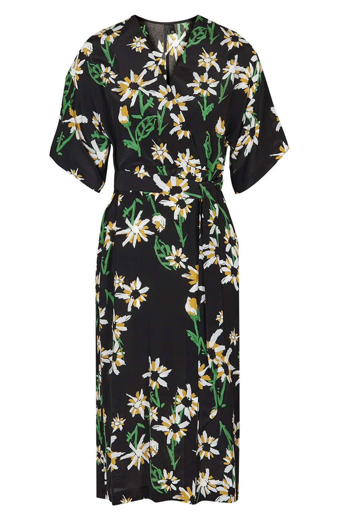 TOPSHOP BOUTIQUE, Daisy Print Silk Kimono Dress, Alternate thumbnail 2, color, 001