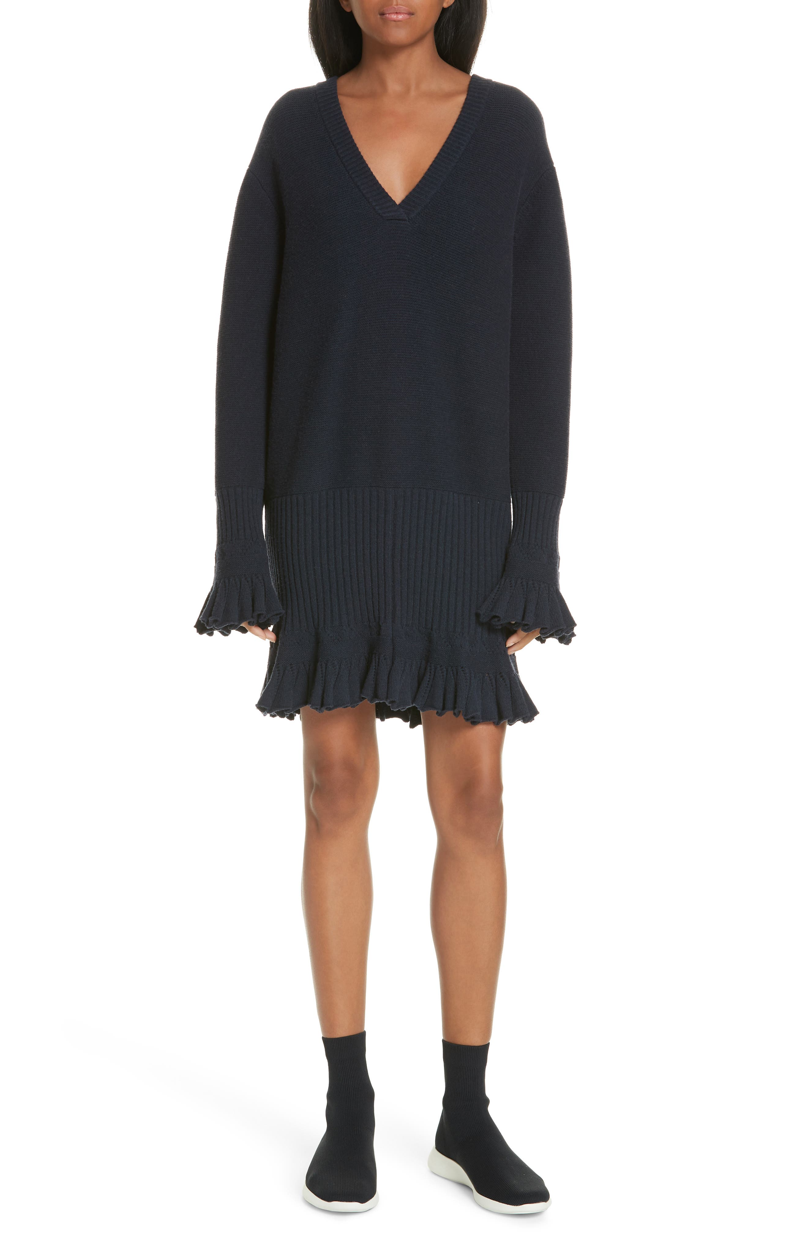Opening Ceremony Ruffle Trim Sweater Dress, Blue