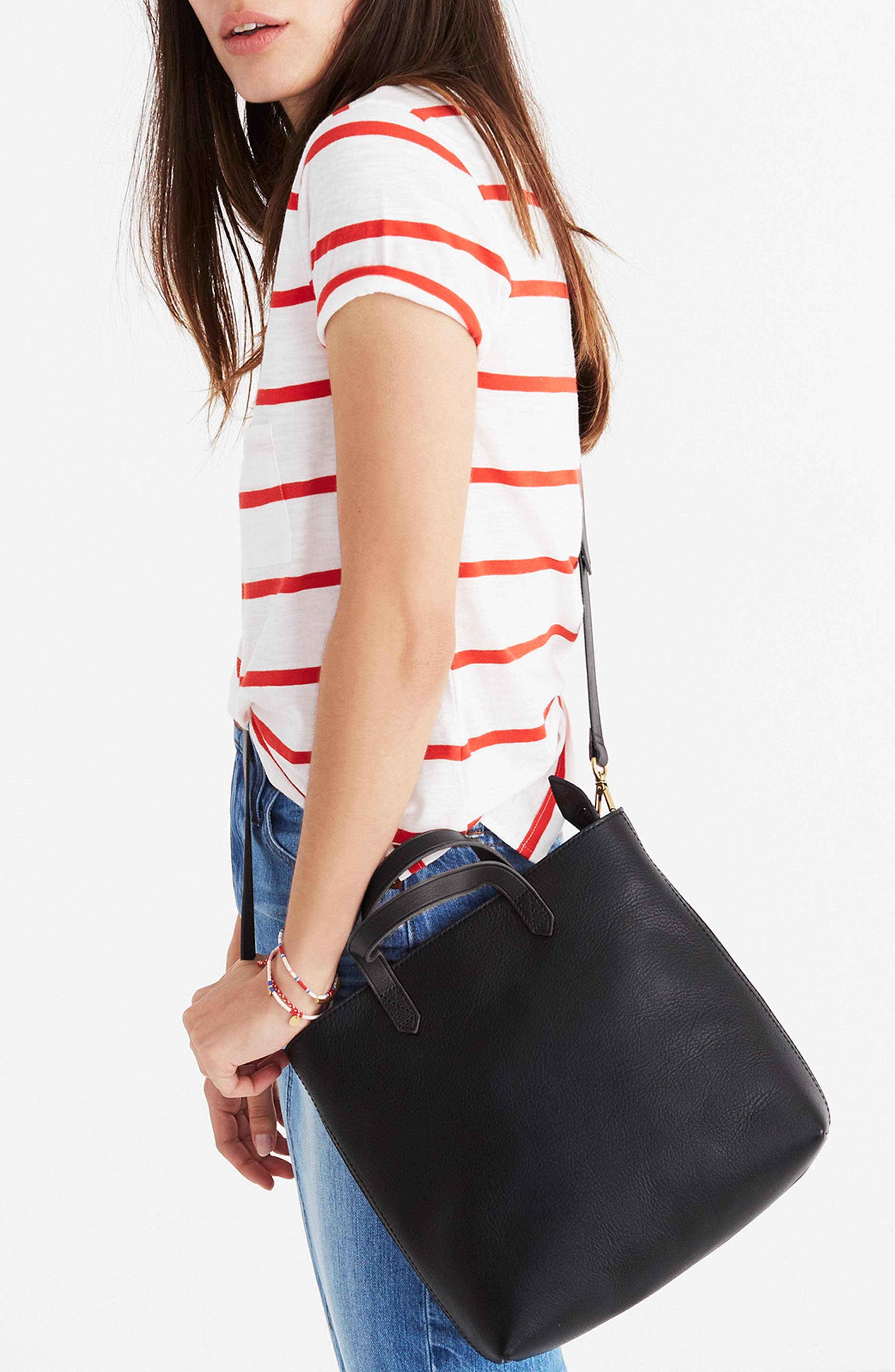 MADEWELL, Small Transport Leather Crossbody Tote, Alternate thumbnail 2, color, TRUE BLACK