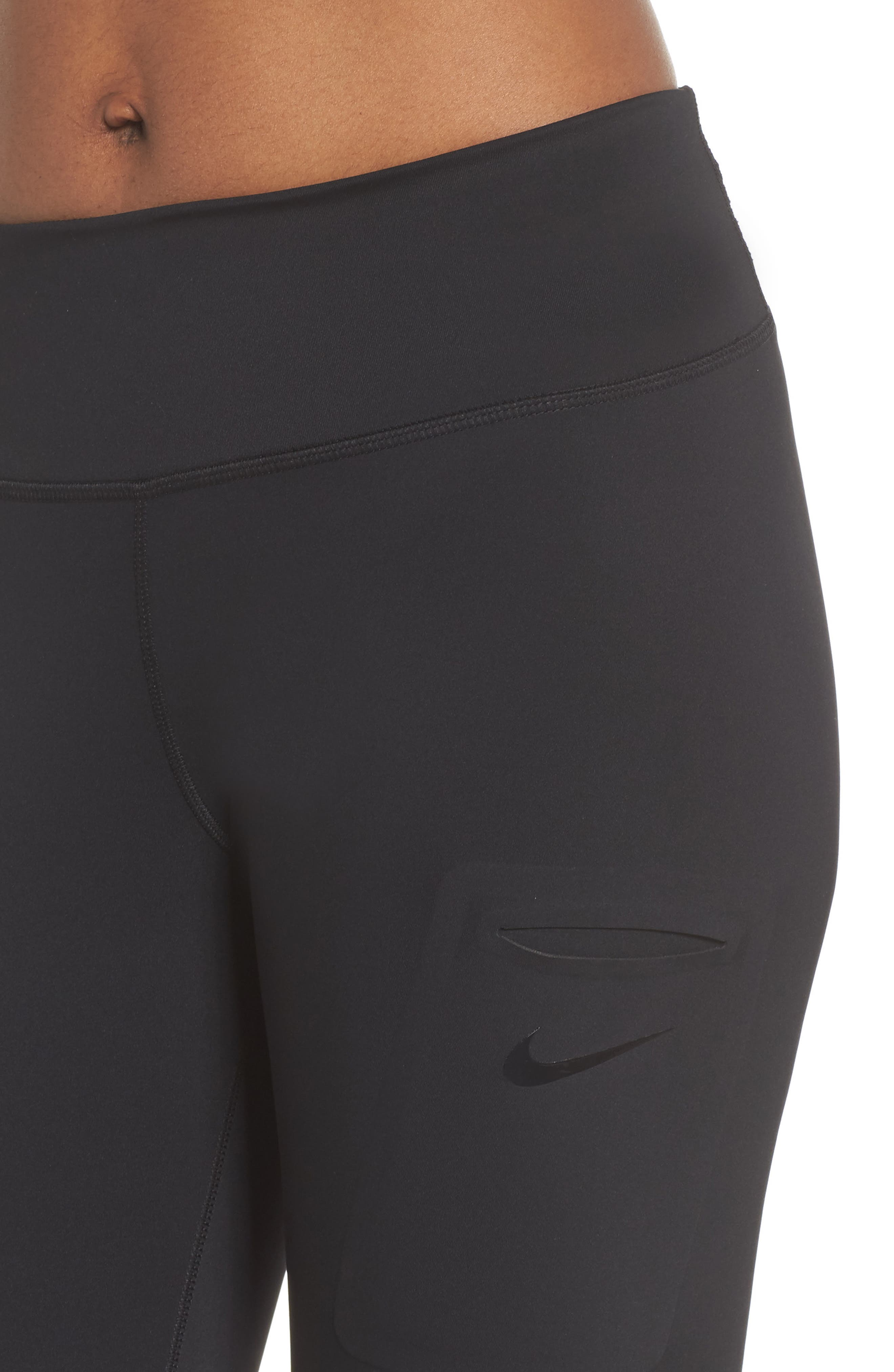 NIKE, Power Tights, Alternate thumbnail 5, color, BLACK/ CLEAR