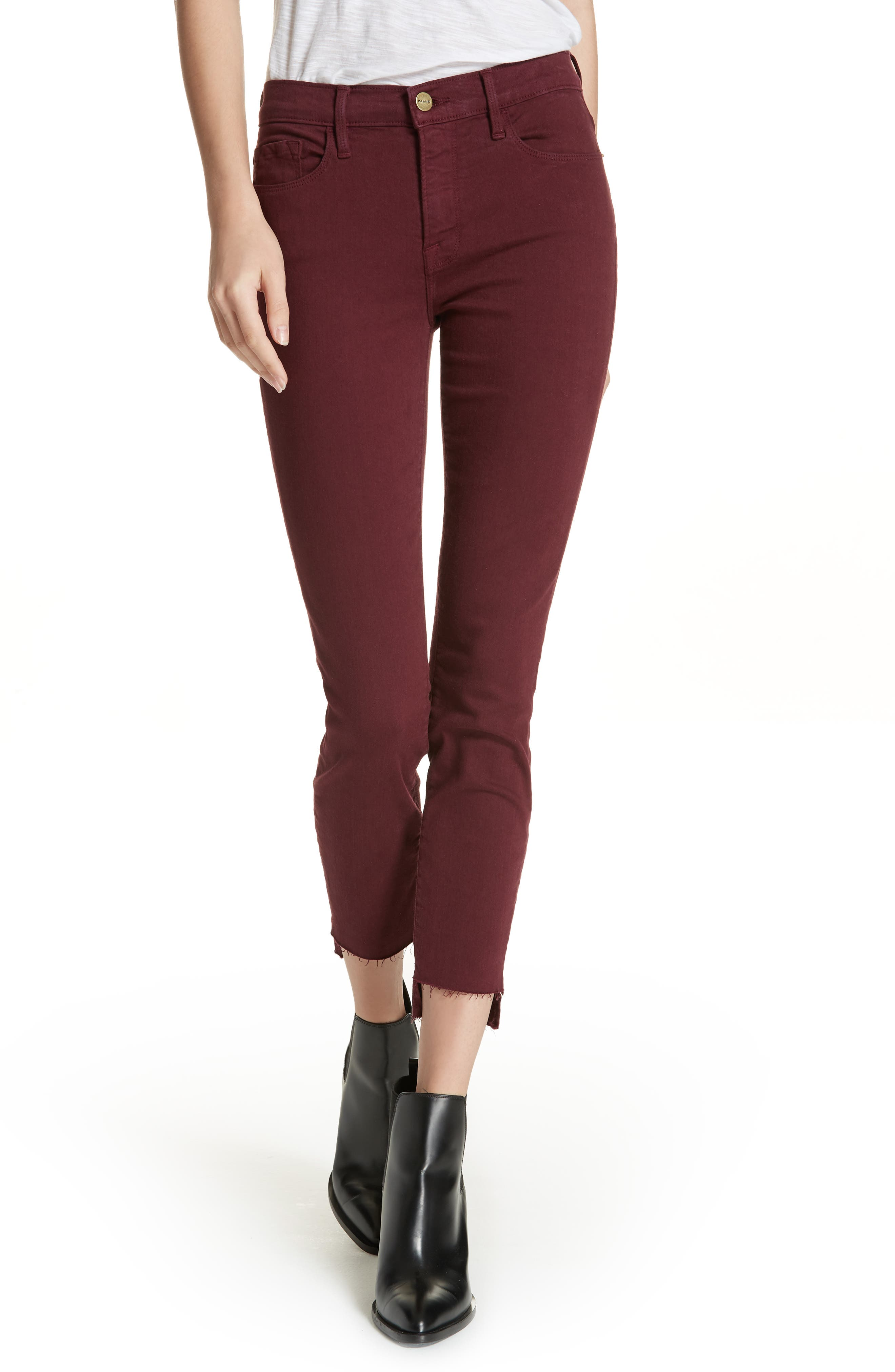 FRAME, Le Skinny de Jeanne Raw Stagger Hem Jeans, Main thumbnail 1, color, PINOT