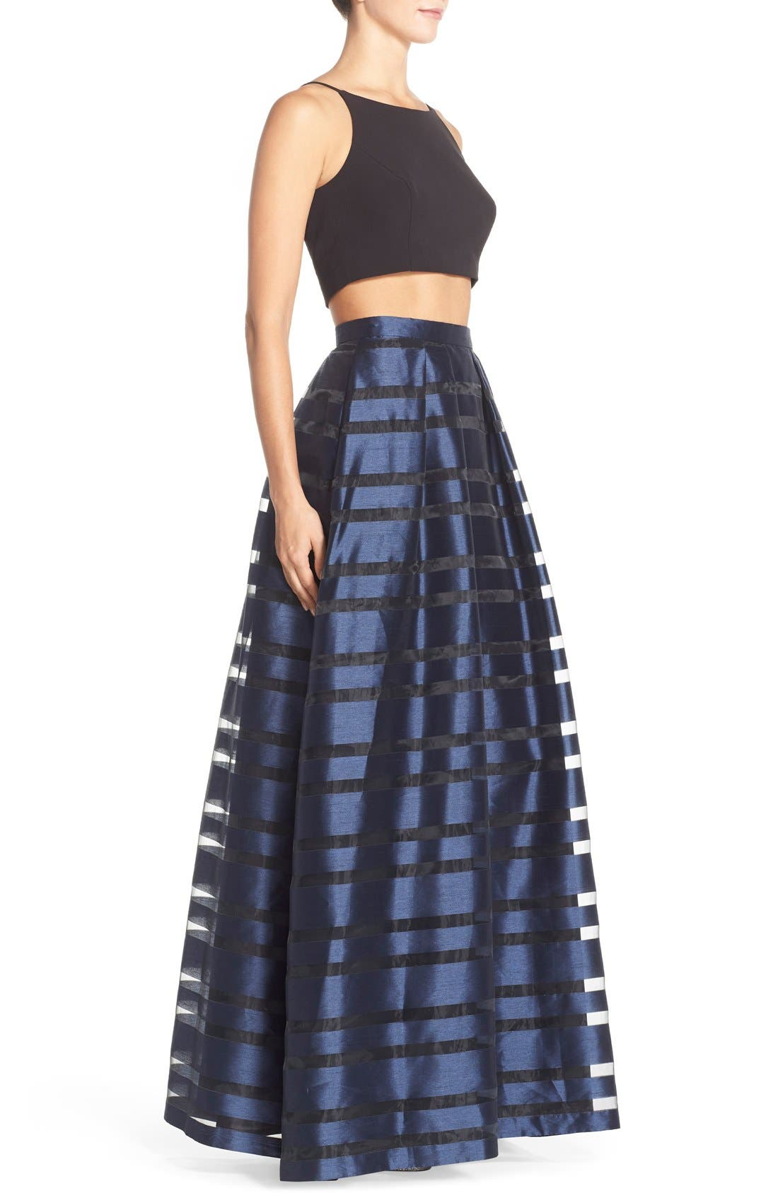 AIDAN BY AIDAN MATTOX, Stripe Two-Piece Ballgown, Alternate thumbnail 4, color, 002