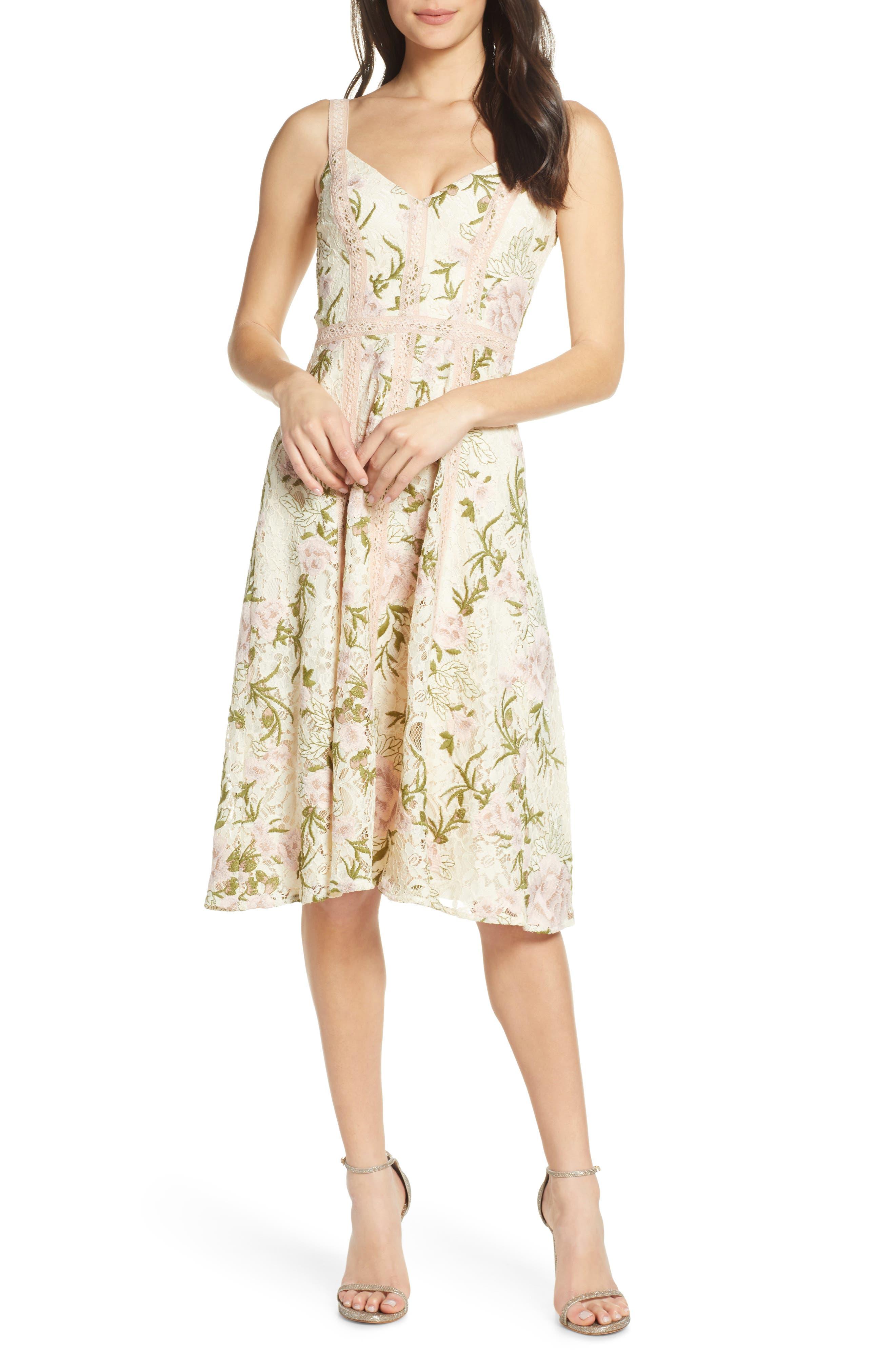Dress The Population Carmen Floral Lace Fit & Flare Dress, Ivory