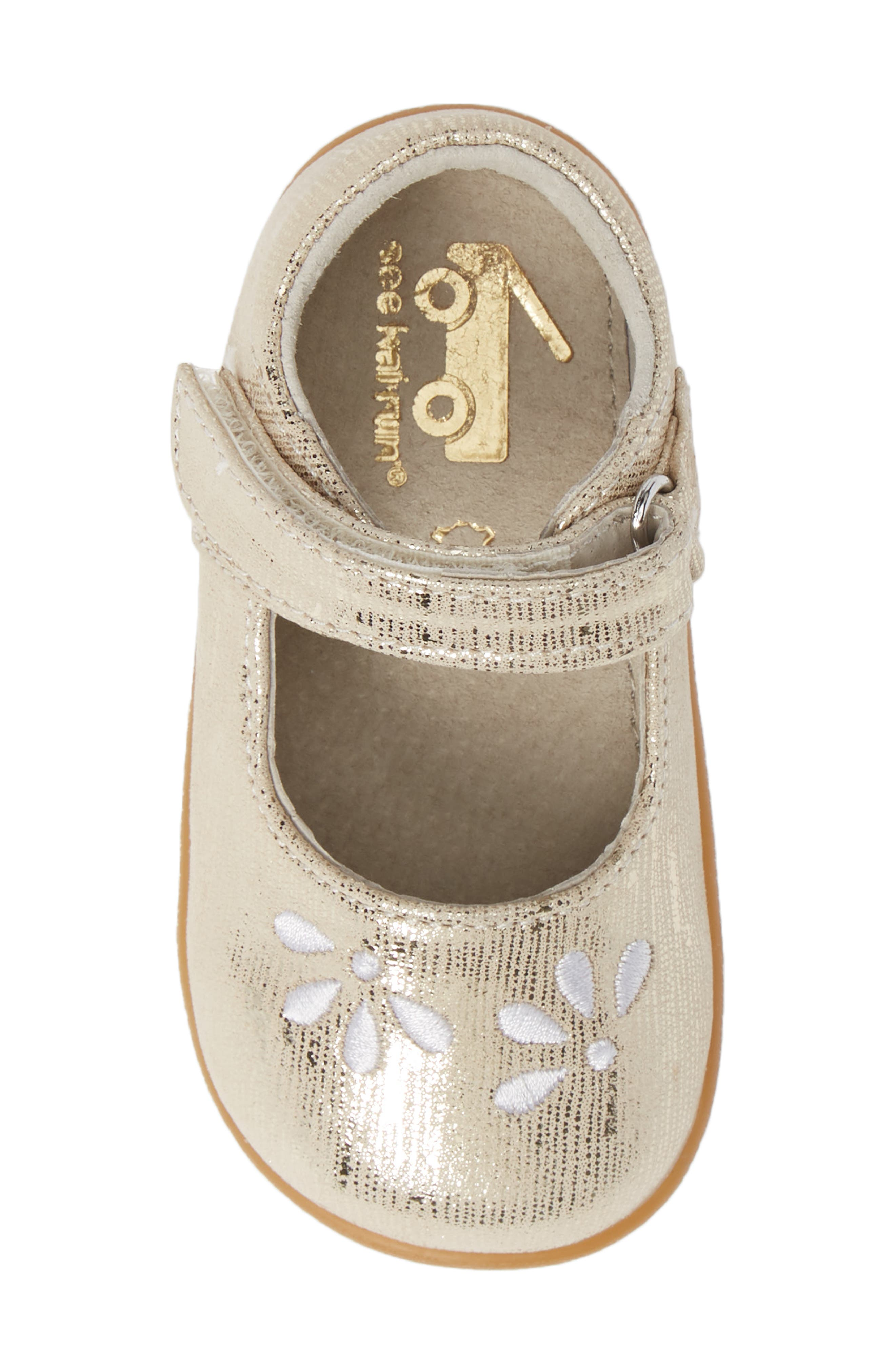 SEE KAI RUN, Ginny Embroidered Metallic Mary Jane, Alternate thumbnail 5, color, GOLD