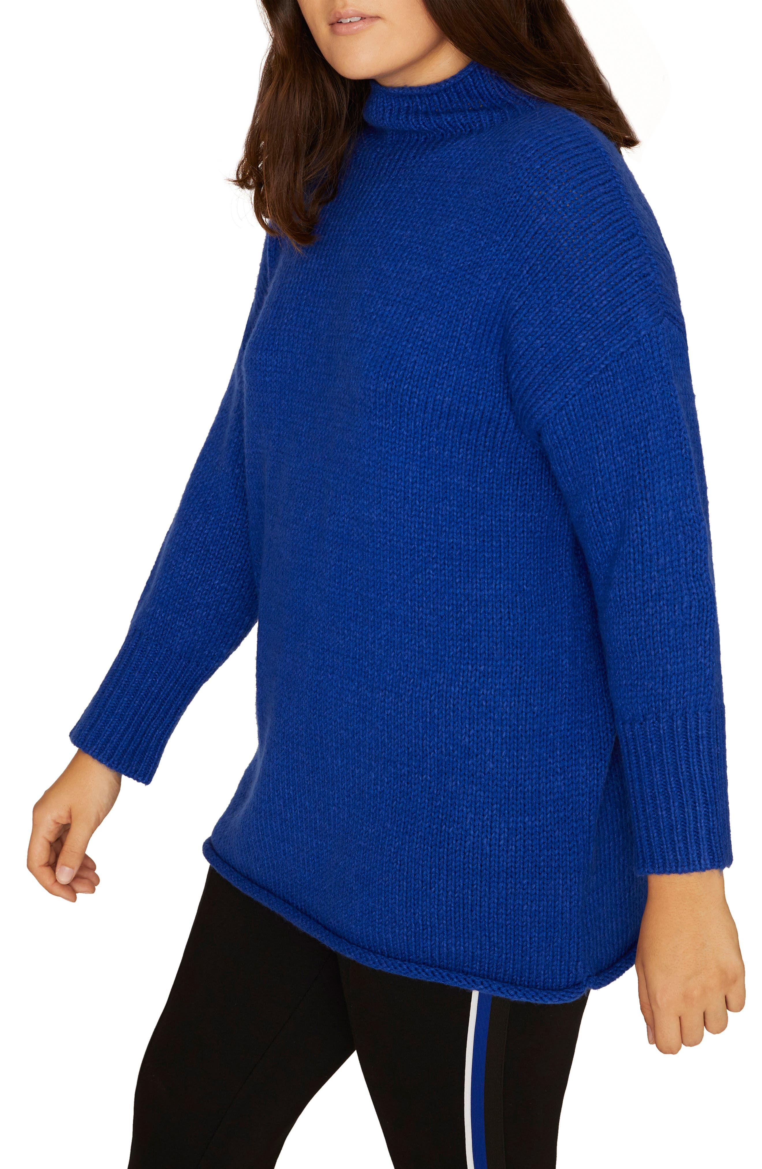 SANCTUARY, Supersized Curl Up Sweater, Alternate thumbnail 3, color, ELECTRIC BLUE