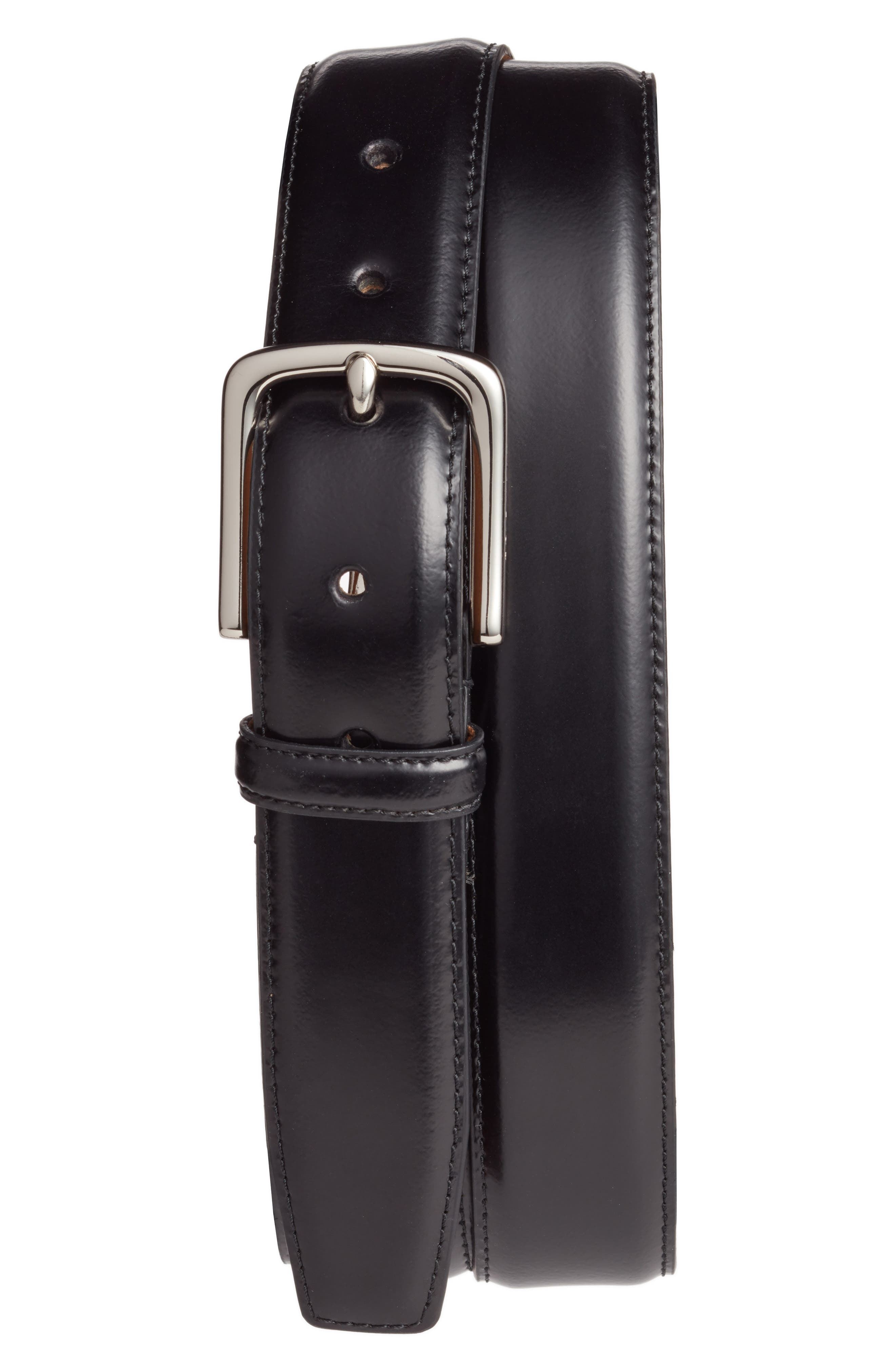 COLE HAAN, Leather Belt, Main thumbnail 1, color, BLACK WITH POLISHED NICKEL