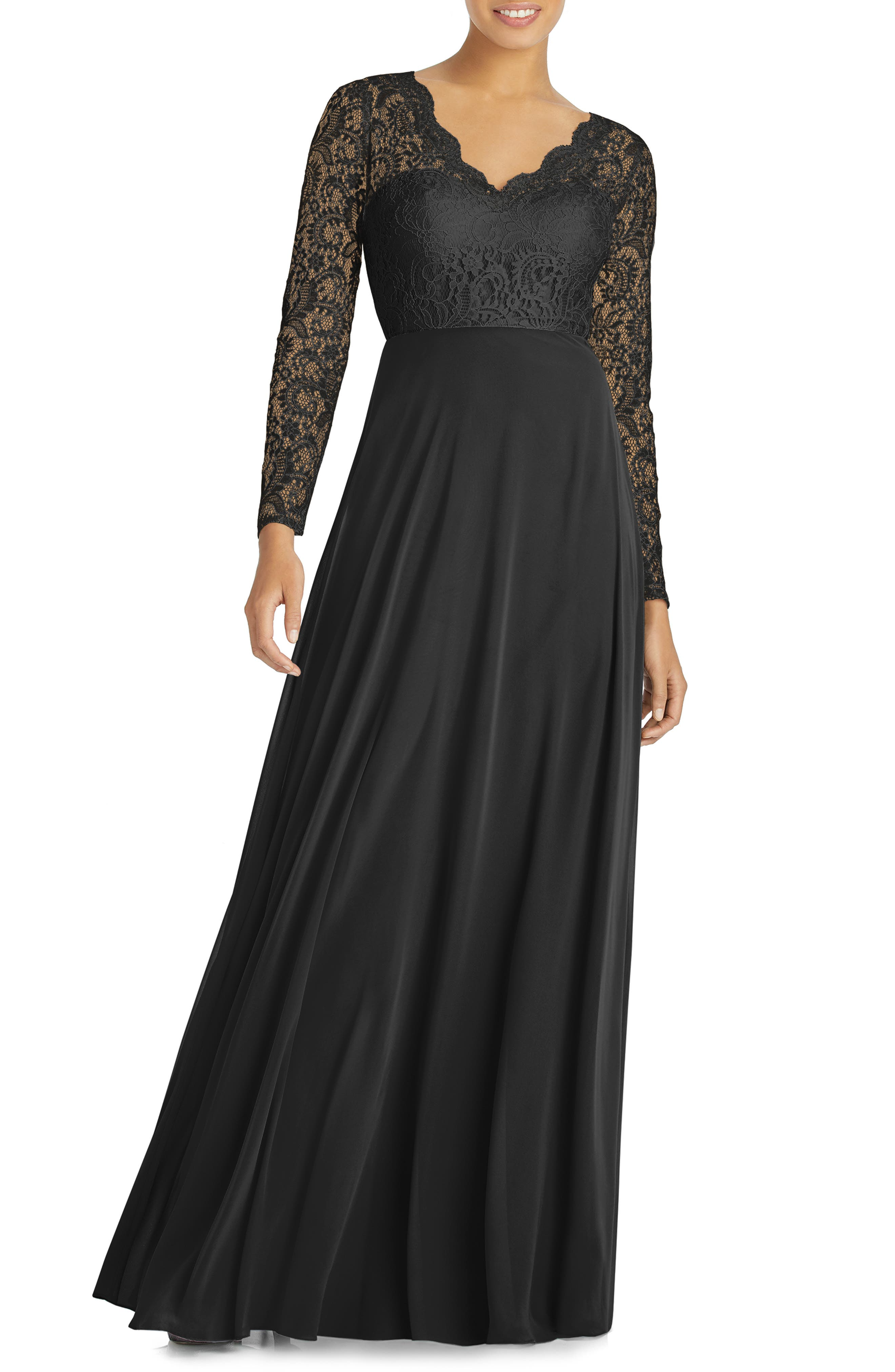 DESSY COLLECTION, Long Sleeve Lace & Chiffon Gown, Main thumbnail 1, color, BLACK