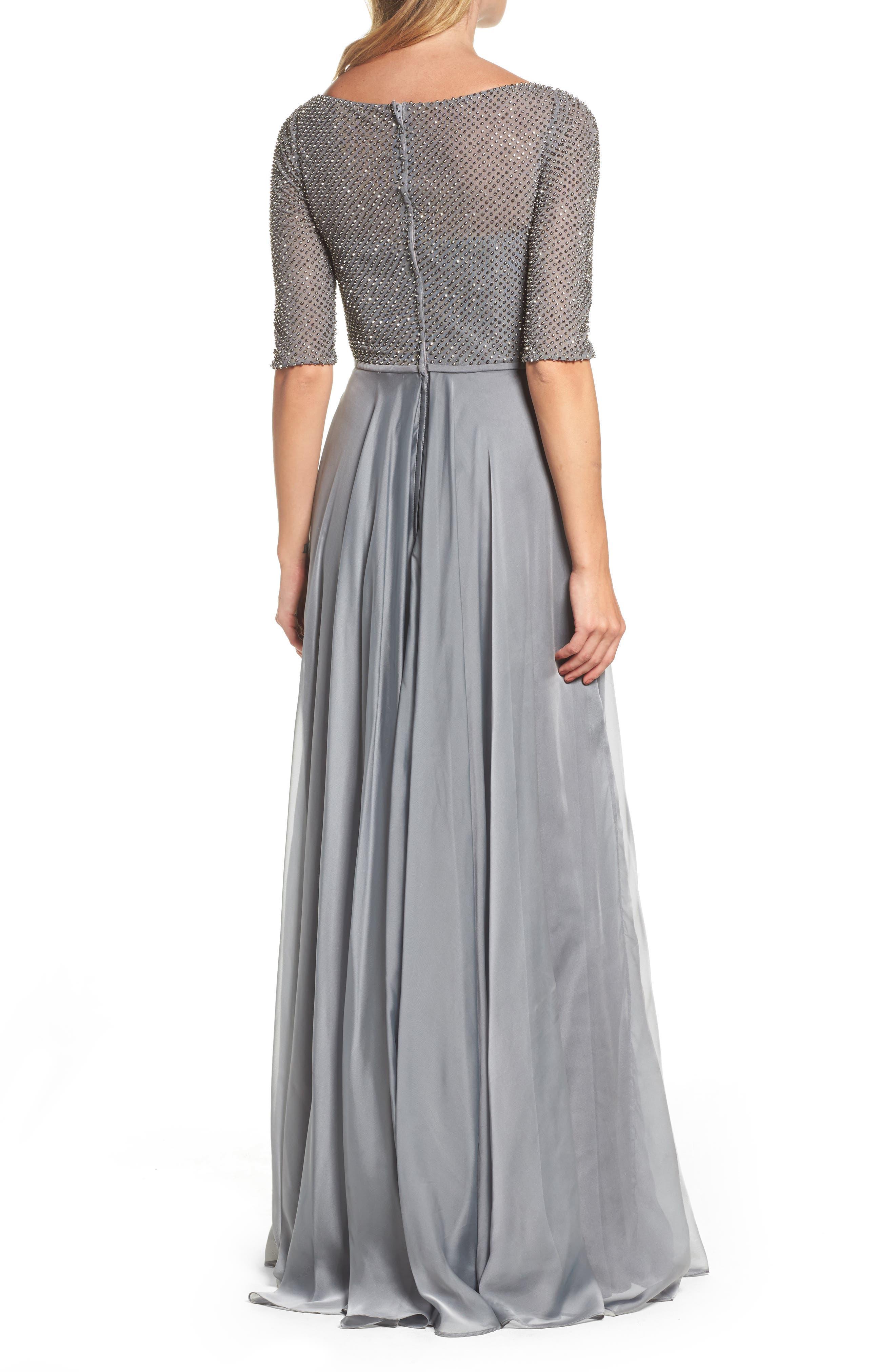 LA FEMME, Embellished Bodice Gown, Alternate thumbnail 2, color, PLATINUM