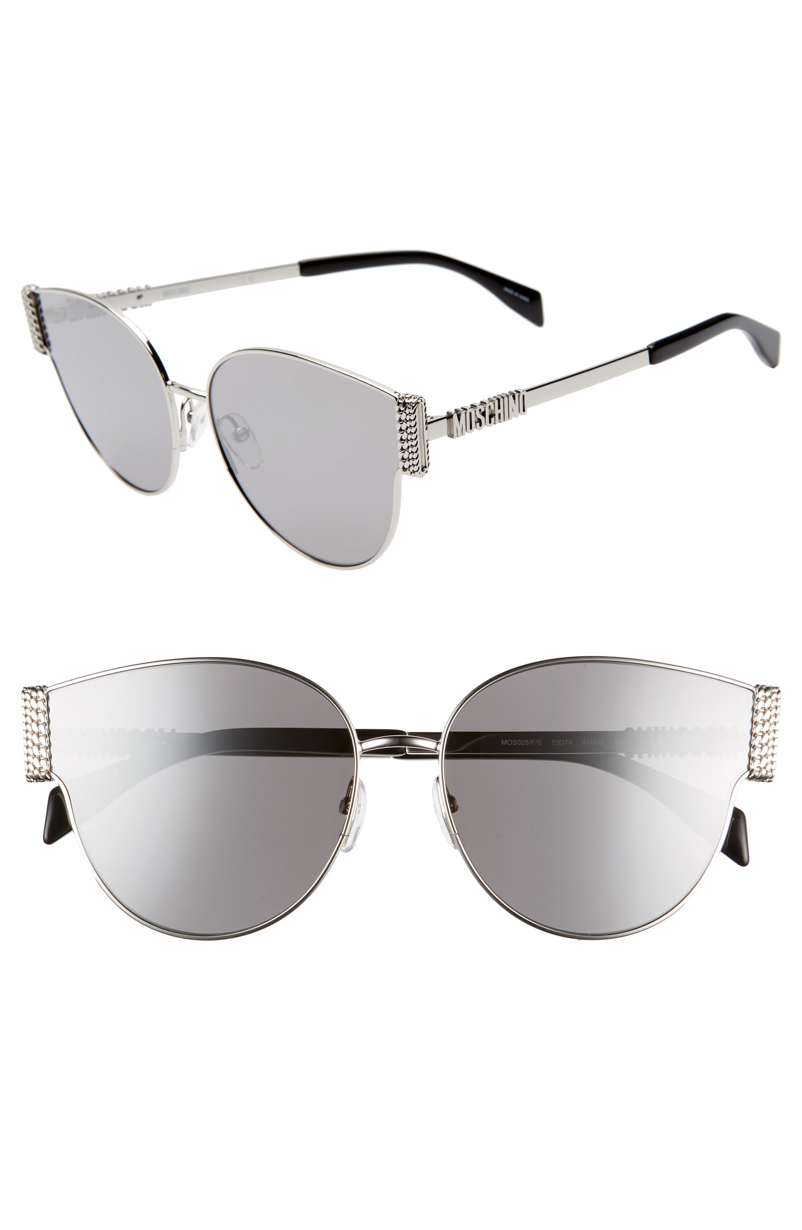 MOSCHINO, 61mm Special Fit Cat Eye Sunglasses, Main thumbnail 1, color, SILVER/ BLACK