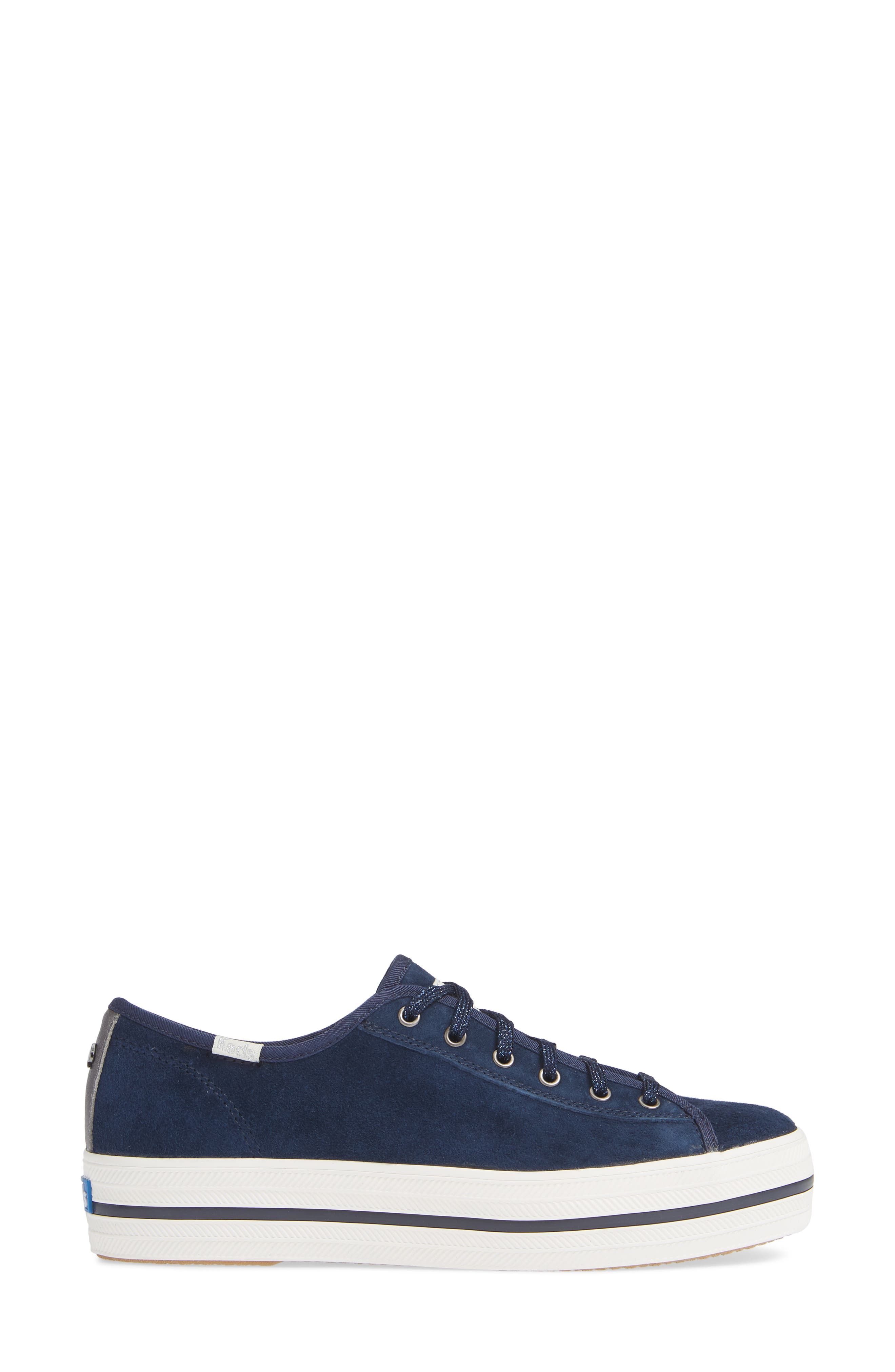 KEDS<SUP>®</SUP> FOR KATE SPADE NEW YORK, Keds<sup>®</sup> x kate spade new york triple kicks platform sneaker, Alternate thumbnail 3, color, NAVY SUEDE
