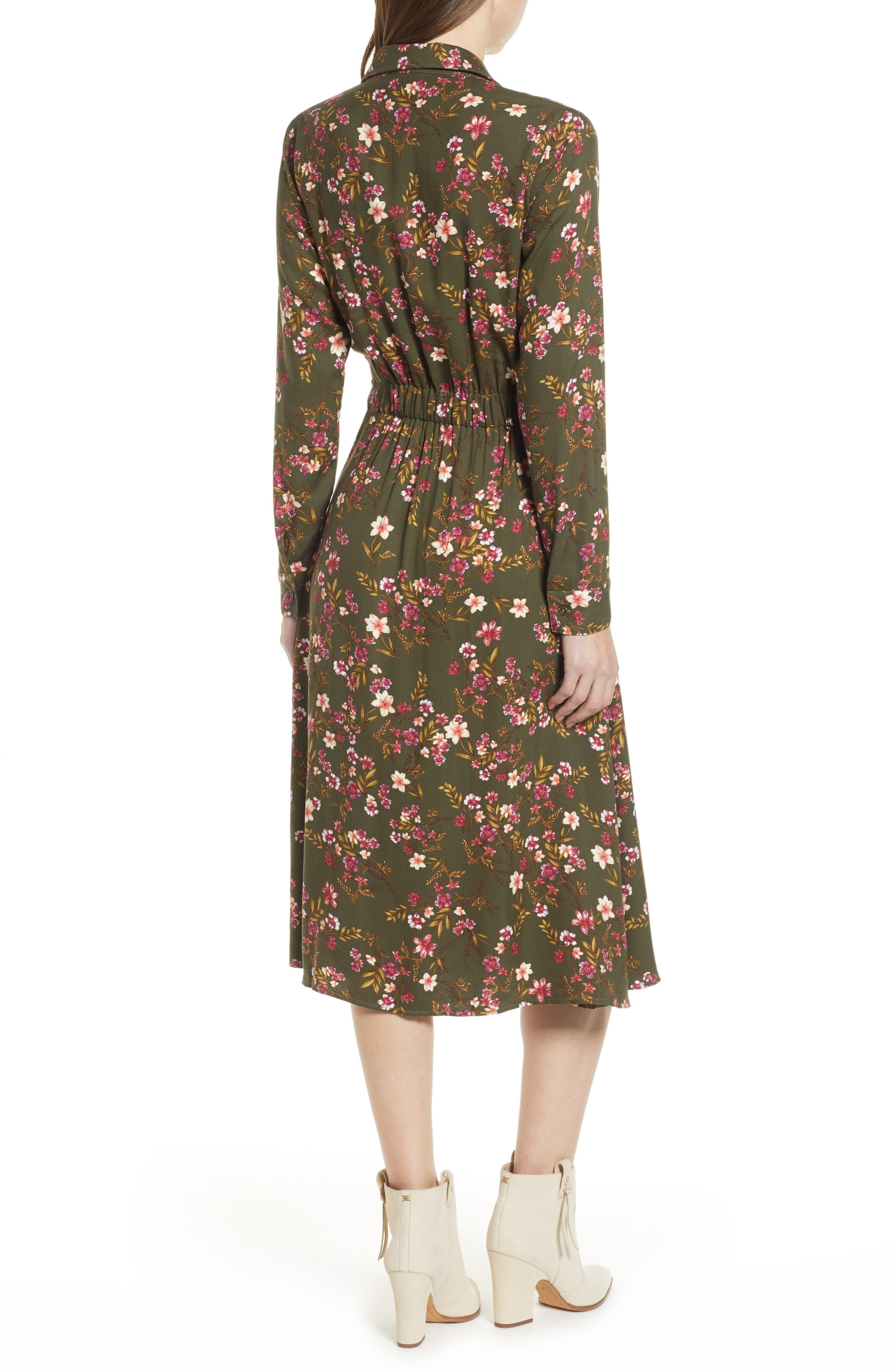 BP., Floral Midi Dress, Alternate thumbnail 2, color, OLIVE BURNT SAVANNAH FLORAL