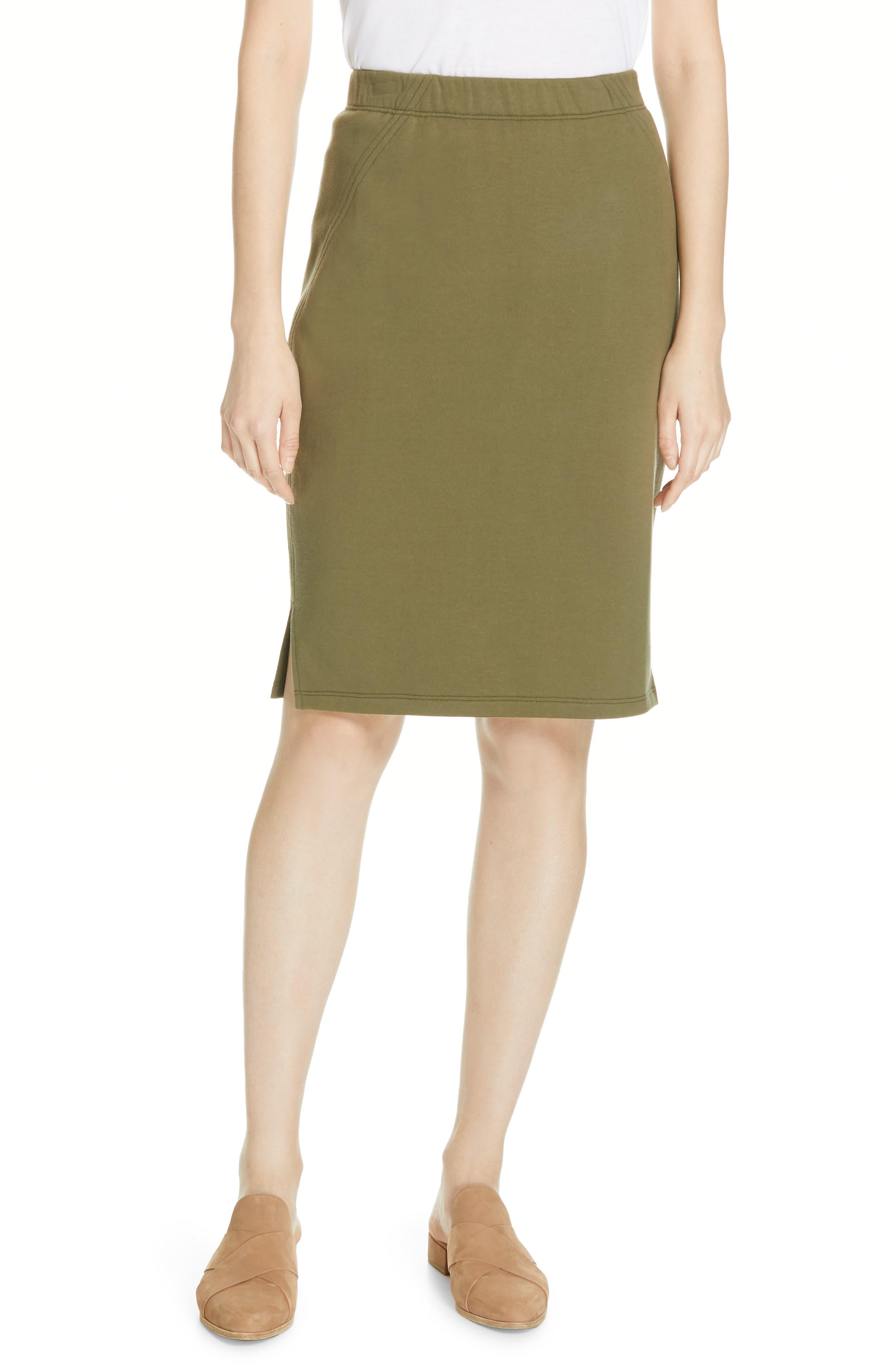 EILEEN FISHER, Organic Cotton Pencil Skirt, Main thumbnail 1, color, OLIVE