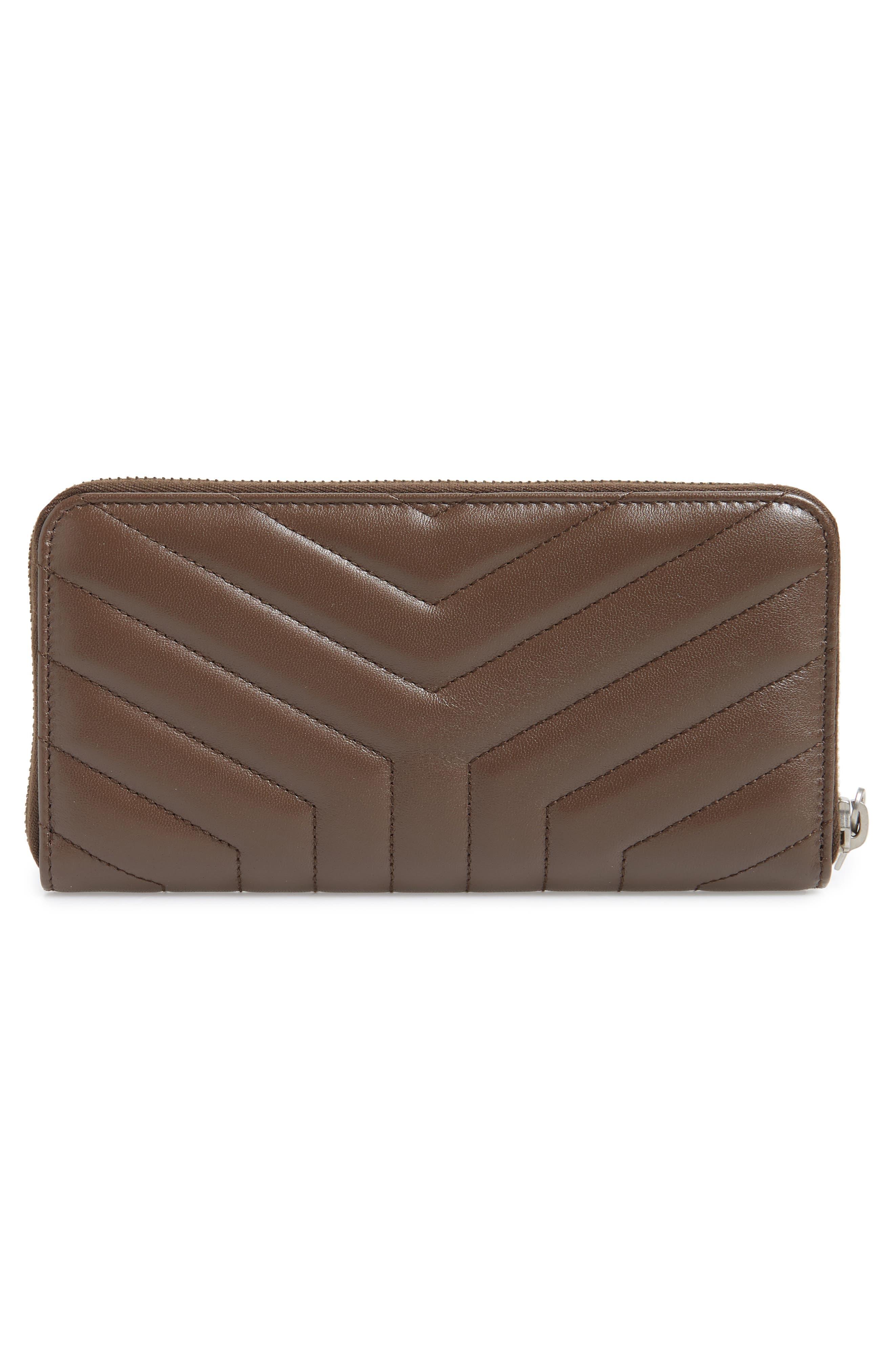 SAINT LAURENT, Loulou Matelassé Leather Zip-Around Wallet, Alternate thumbnail 3, color, FAGGIO