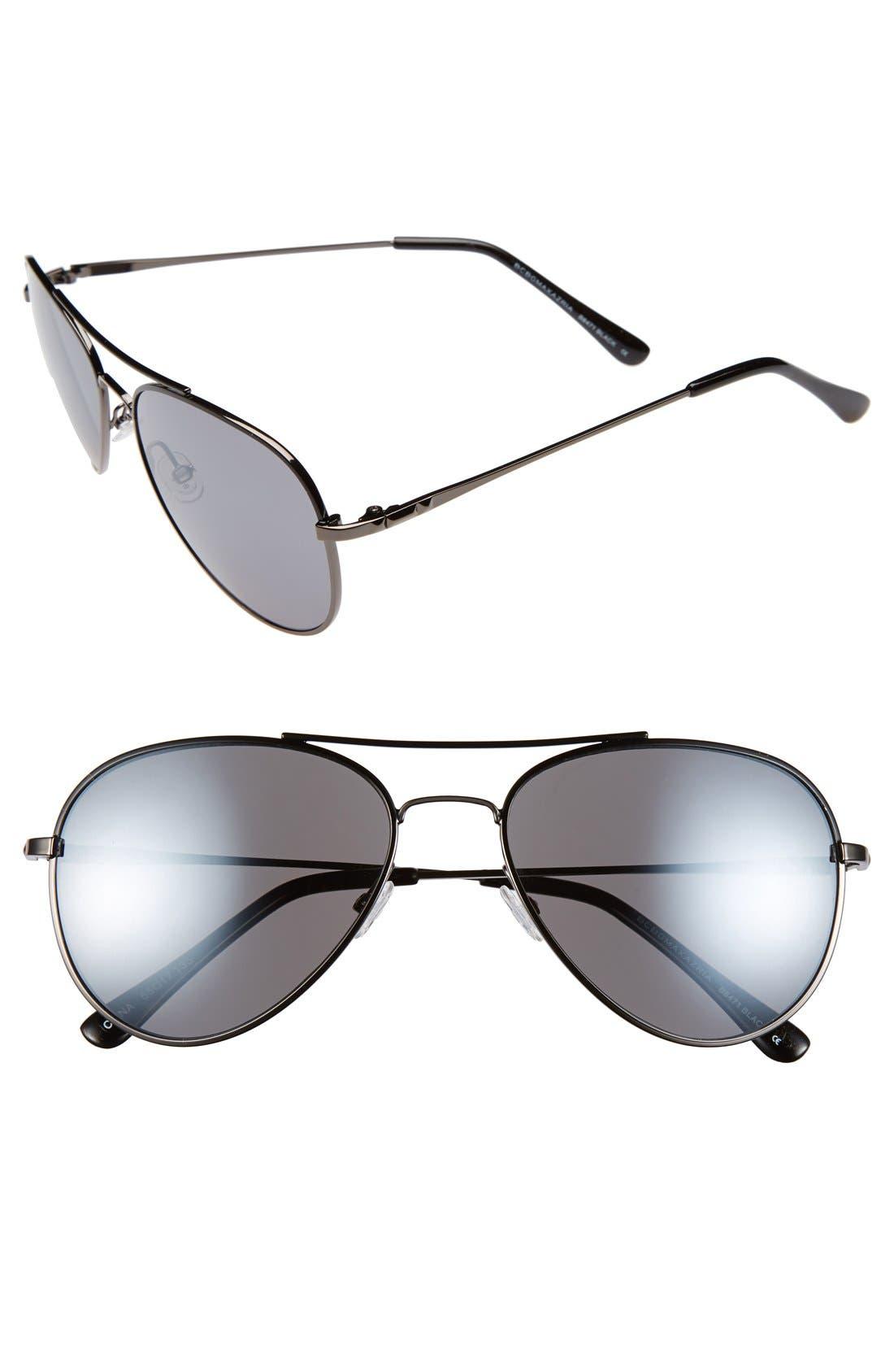 BCBGMAXAZRIA 55mm Aviator Sunglasses, Main, color, 001