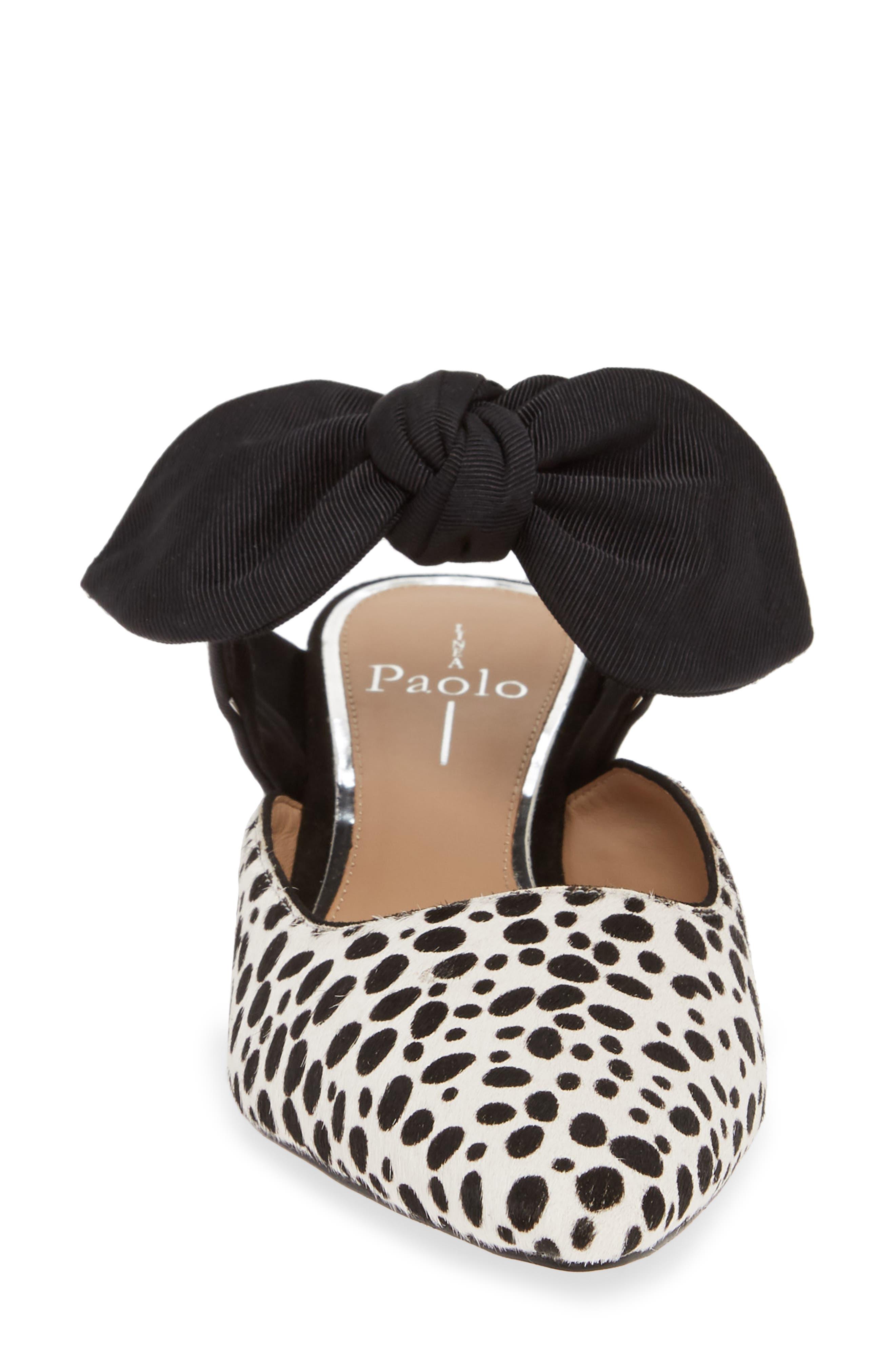 LINEA PAOLO, Crissy II Genuine Calf Hair Pump, Alternate thumbnail 4, color, WHITE/ BLACK CALF HAIR