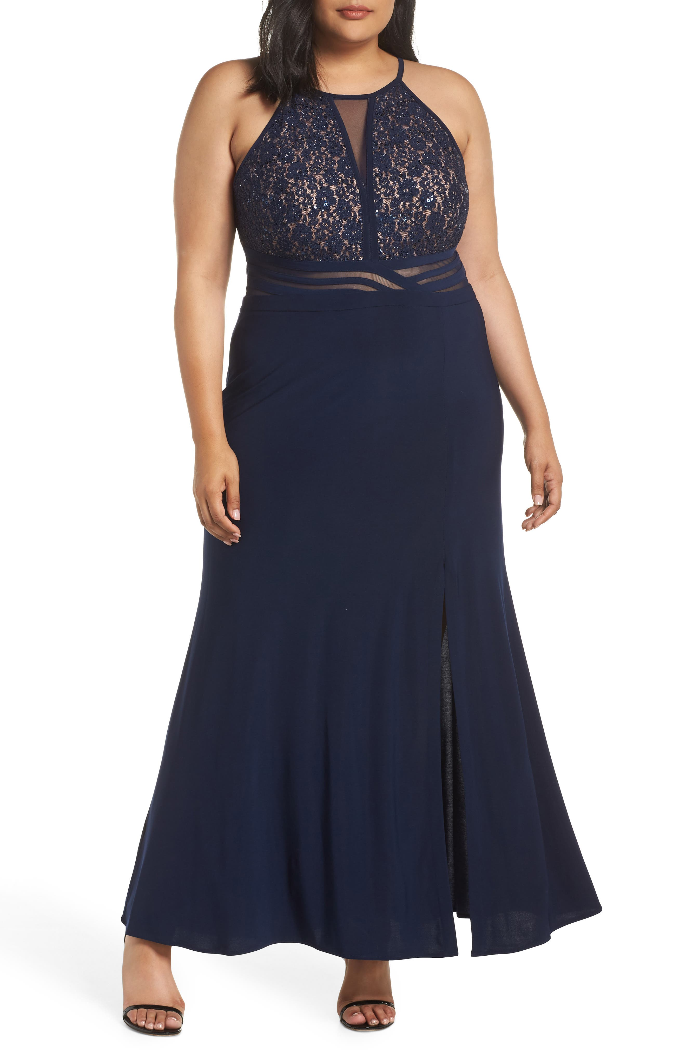 Plus Size Morgan & Co. Illusion Inset Lace Bodice Gown, Blue