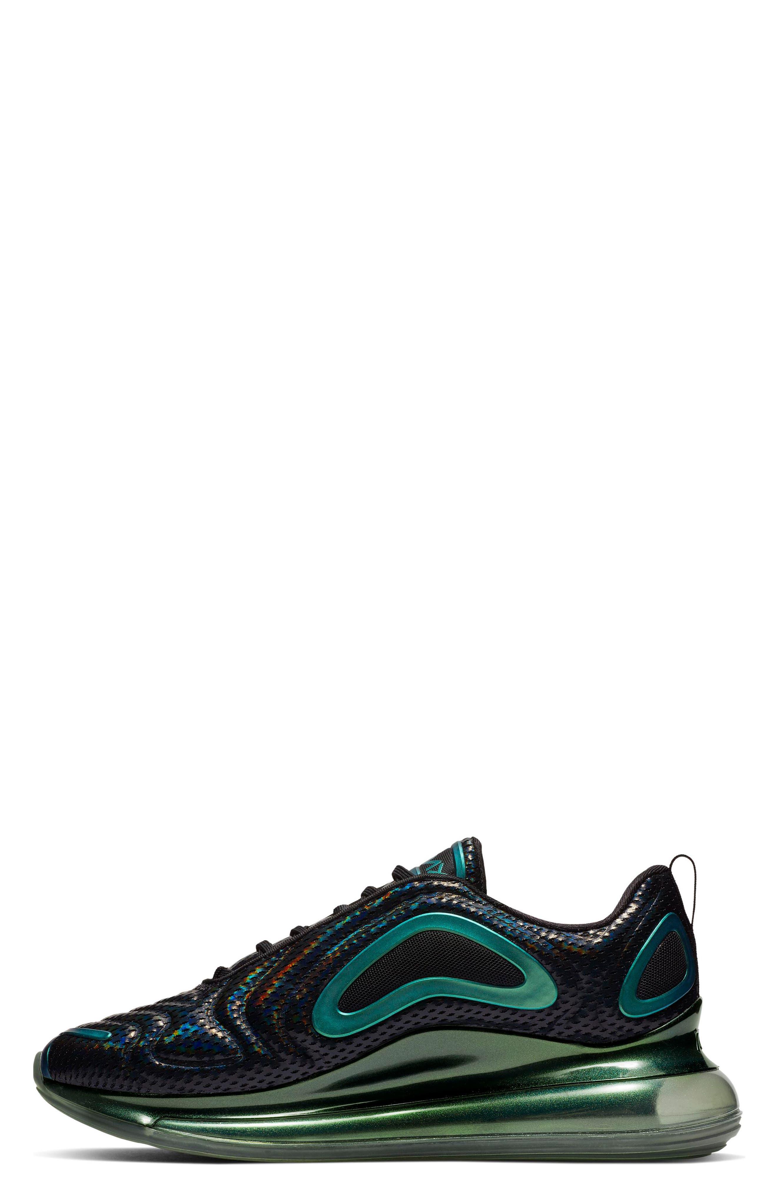 NIKE, Air Max 720 Sneaker, Alternate thumbnail 3, color, BLACK/ FUCHSIA/ ANTHRACITE