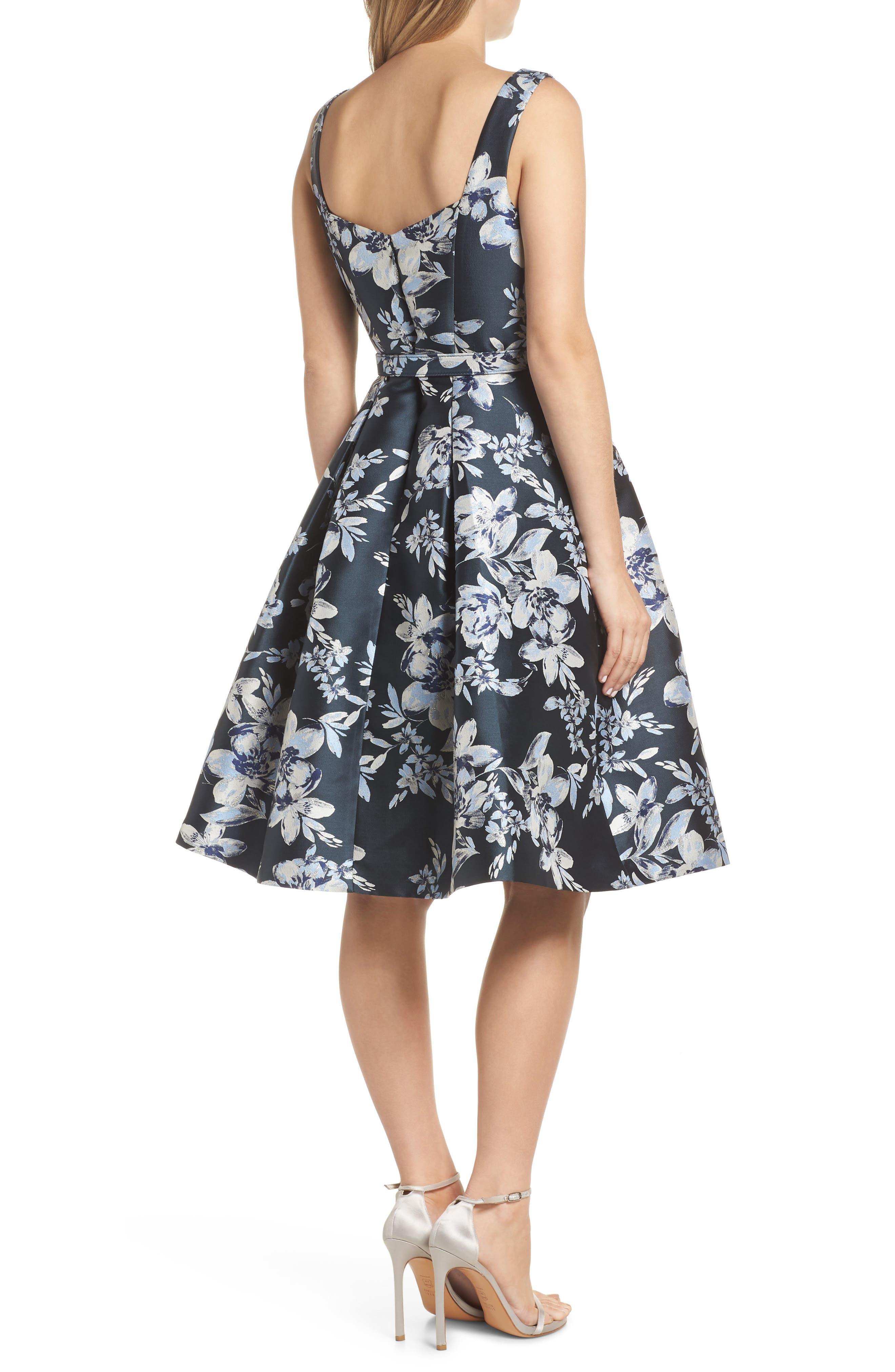 ELIZA J, Metallic Floral Belted Fit & Flare Dress, Alternate thumbnail 2, color, NAVY
