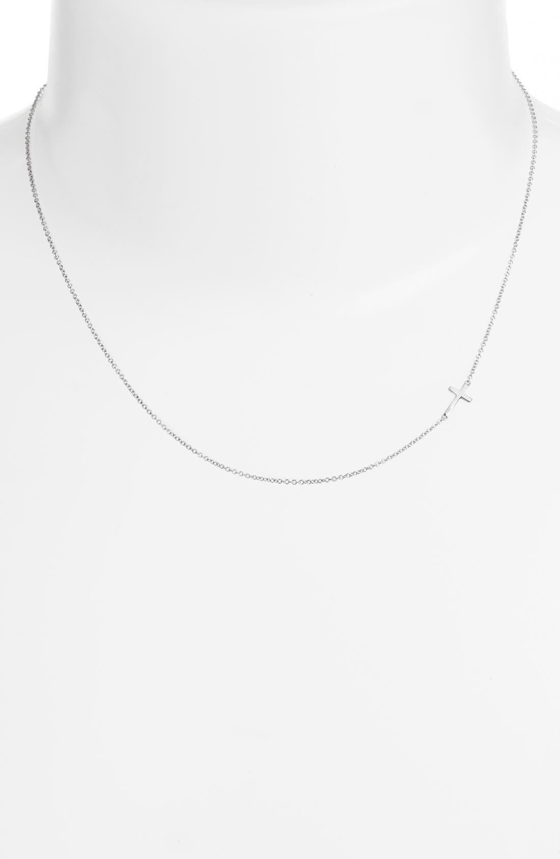 BONY LEVY, Cross Station Necklace, Alternate thumbnail 2, color, WHITE GOLD