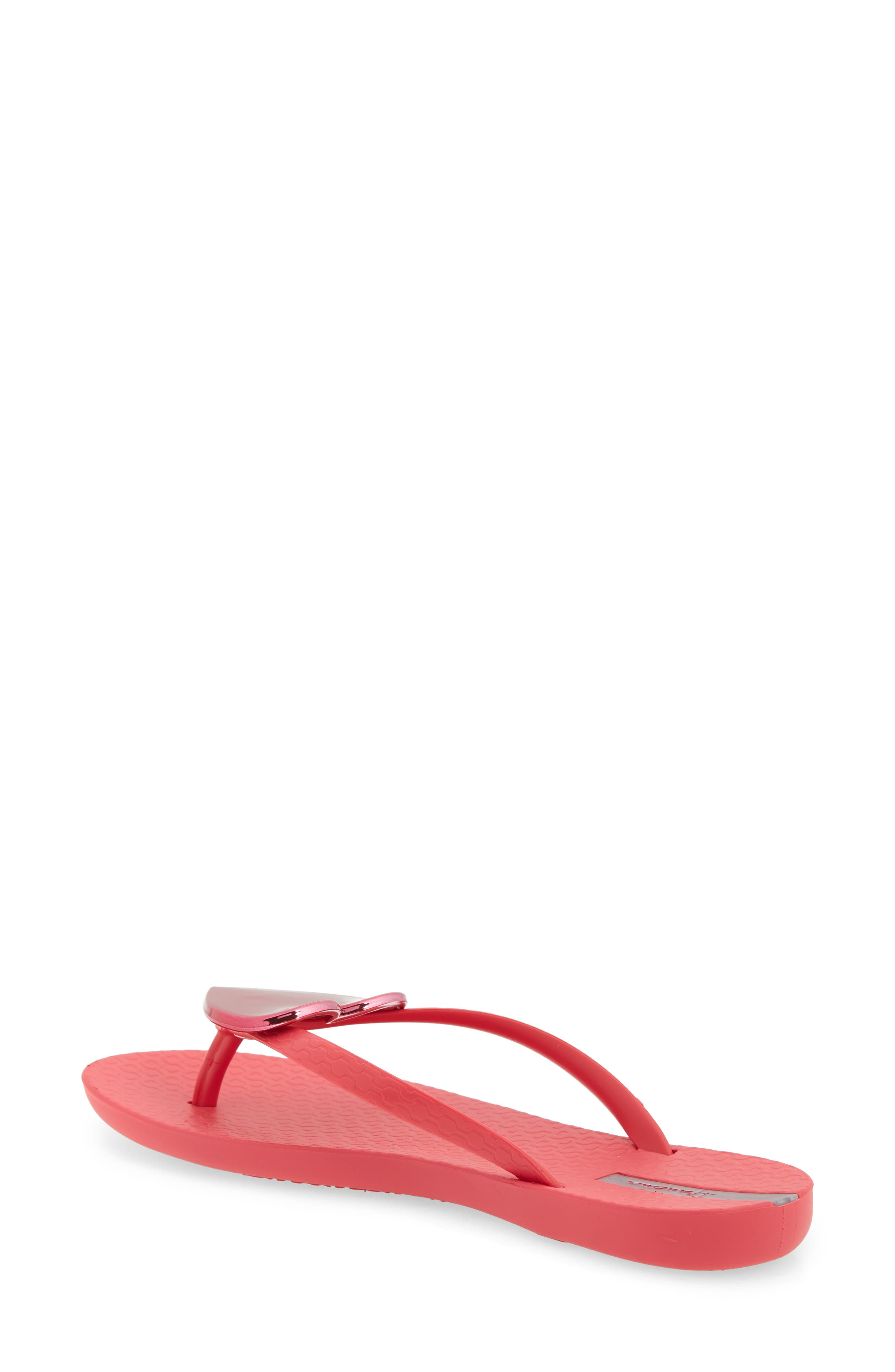 IPANEMA, Wave Heart Flip Flop, Alternate thumbnail 2, color, PINK/ RED