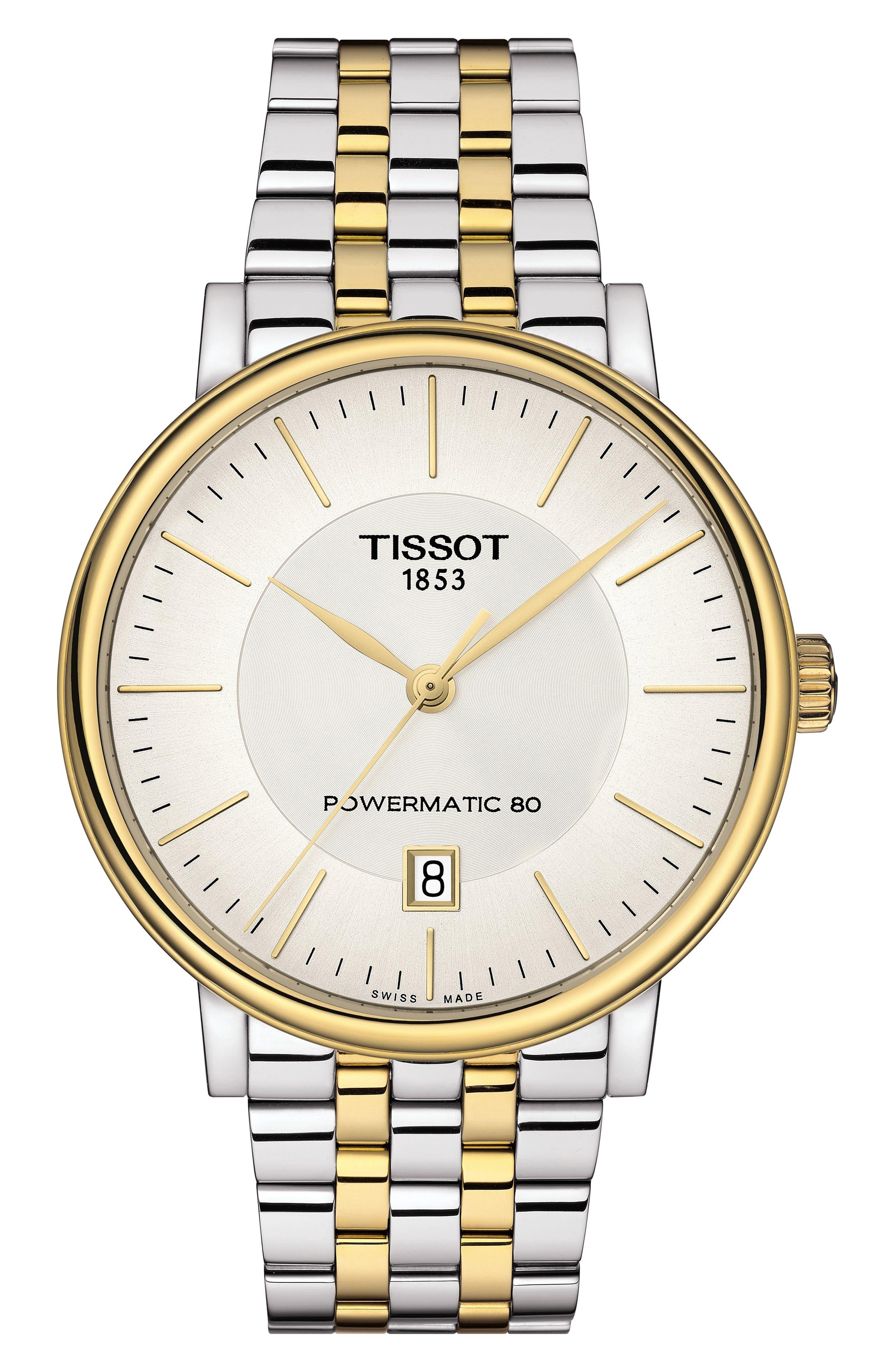 TISSOT, T-Classic Carson Powermatic Bracelet Watch, 40mm, Main thumbnail 1, color, SILVER/ WHITE/ GOLD