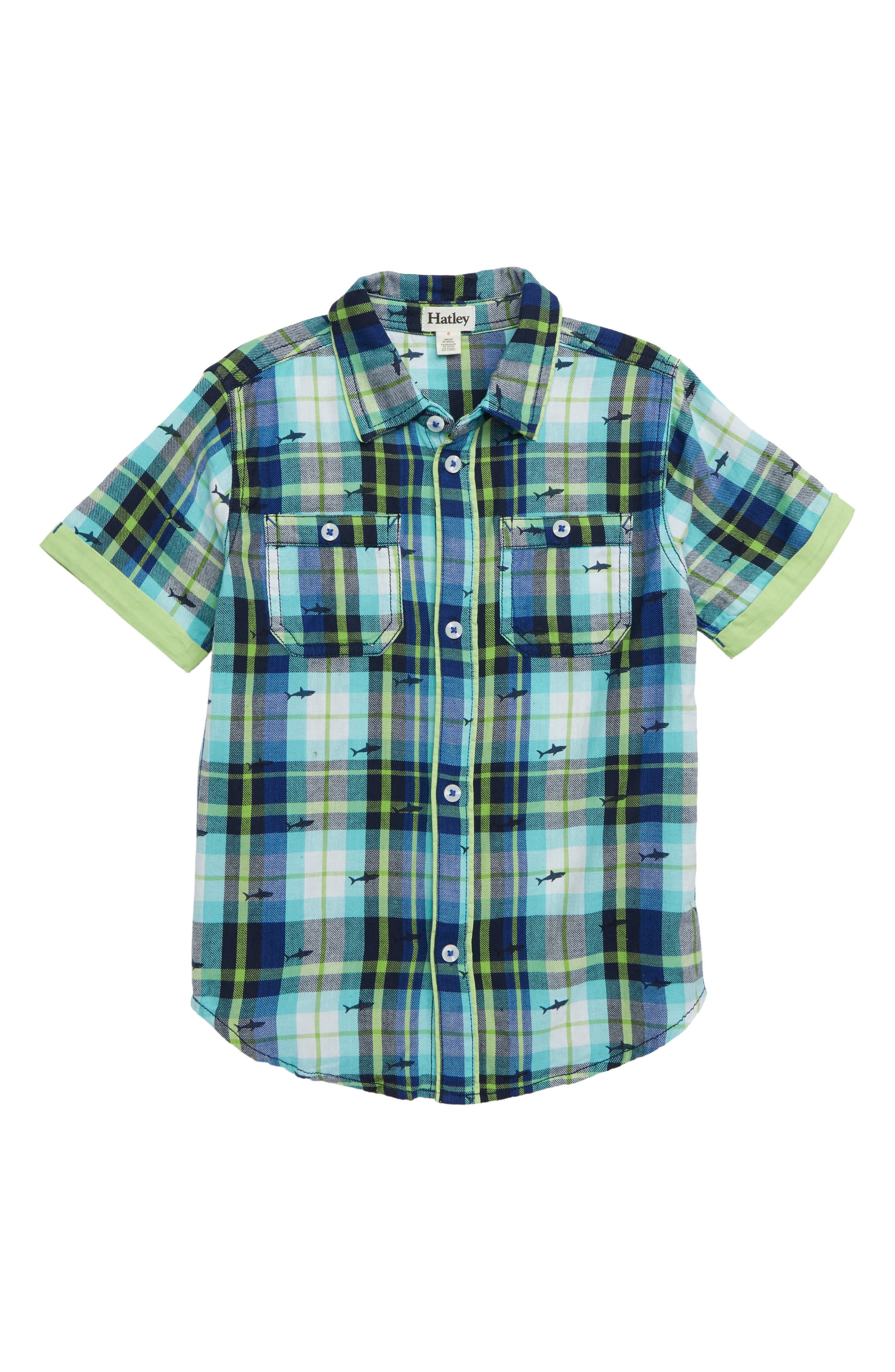 HATLEY Shark Plaid Flannel Shirt, Main, color, BLUE