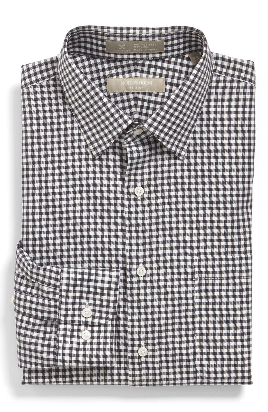 NORDSTROM MEN'S SHOP, Nordstrom Smartcare<sup>™</sup> Wrinkle Free Trim Fit Dress Shirt, Main thumbnail 1, color, 021