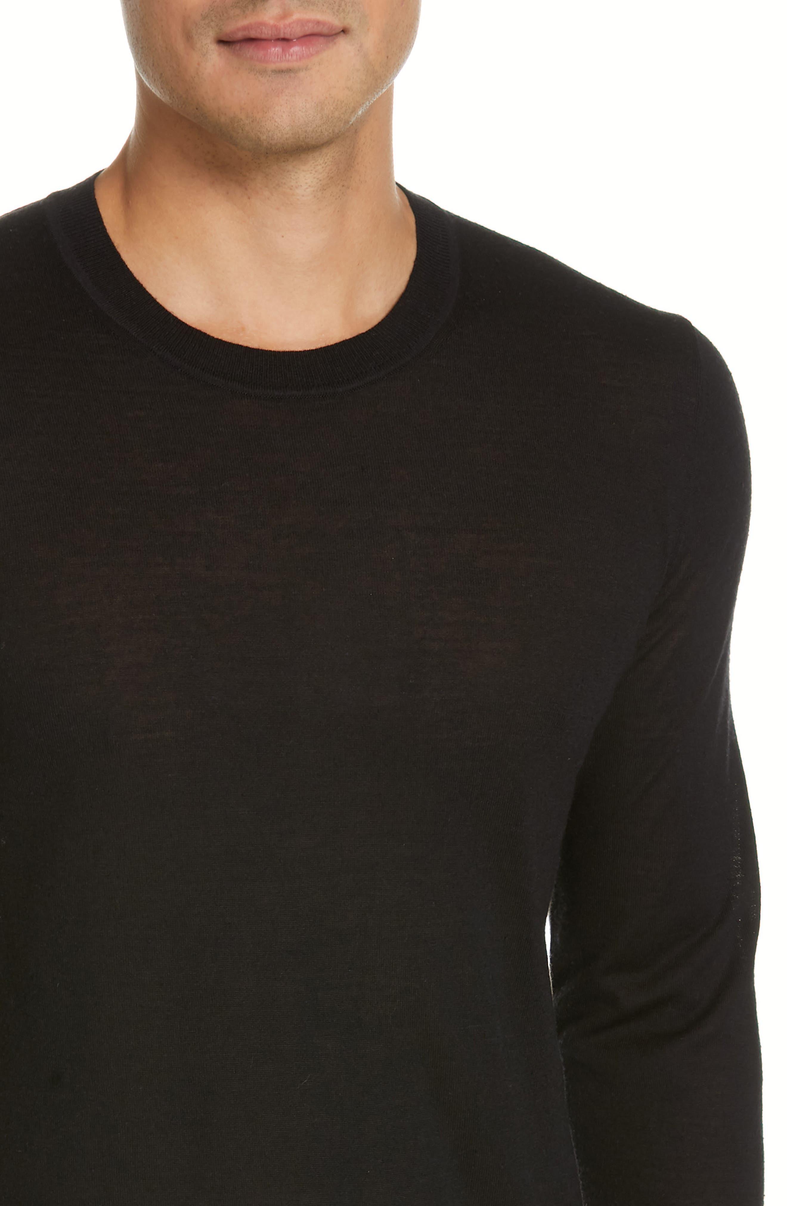 HELMUT LANG, Back Logo Wool & Silk Sweatshirt, Alternate thumbnail 4, color, BLACK