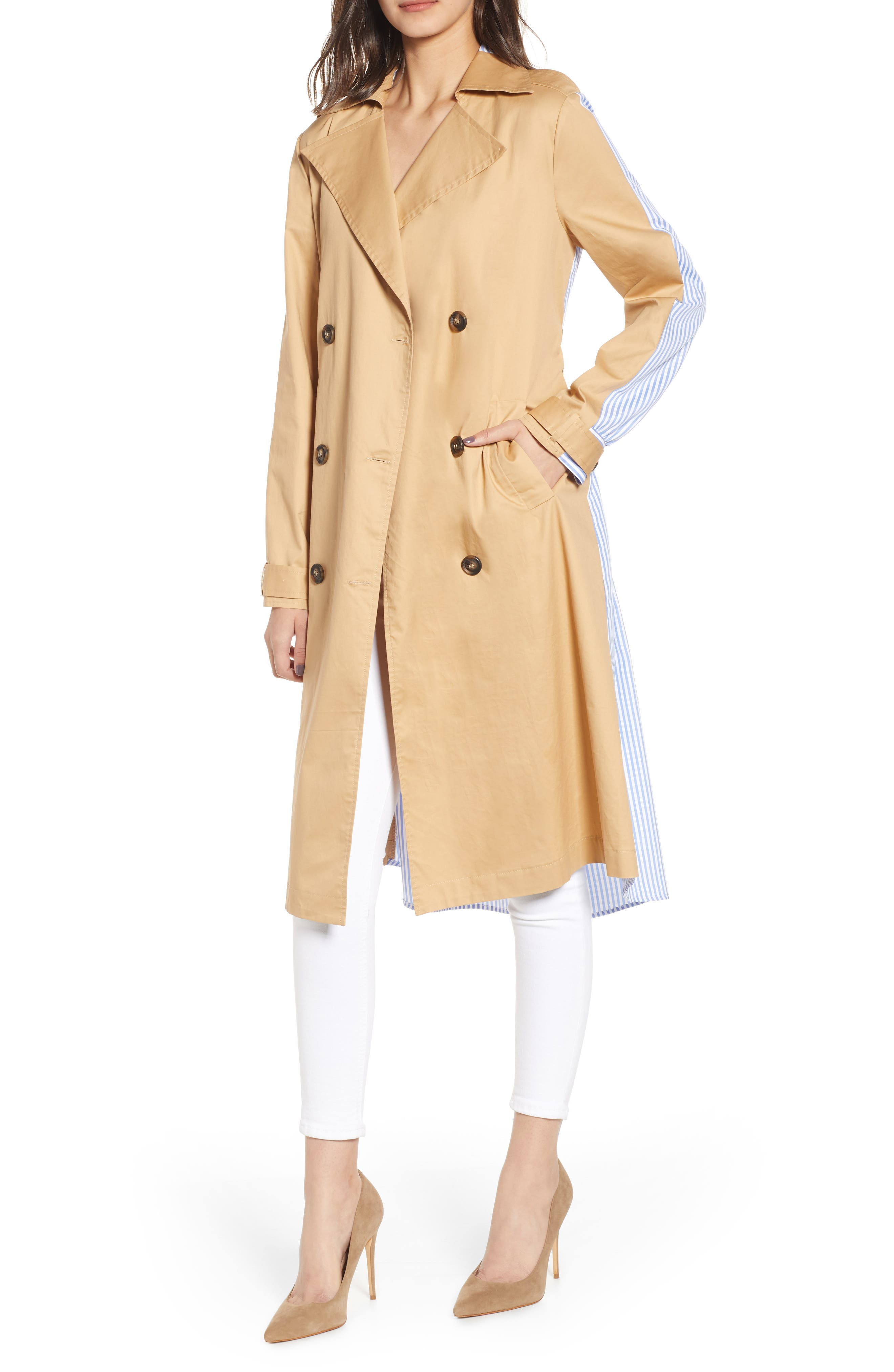 ENGLISH FACTORY Combo Trench Coat, Main, color, MULTI