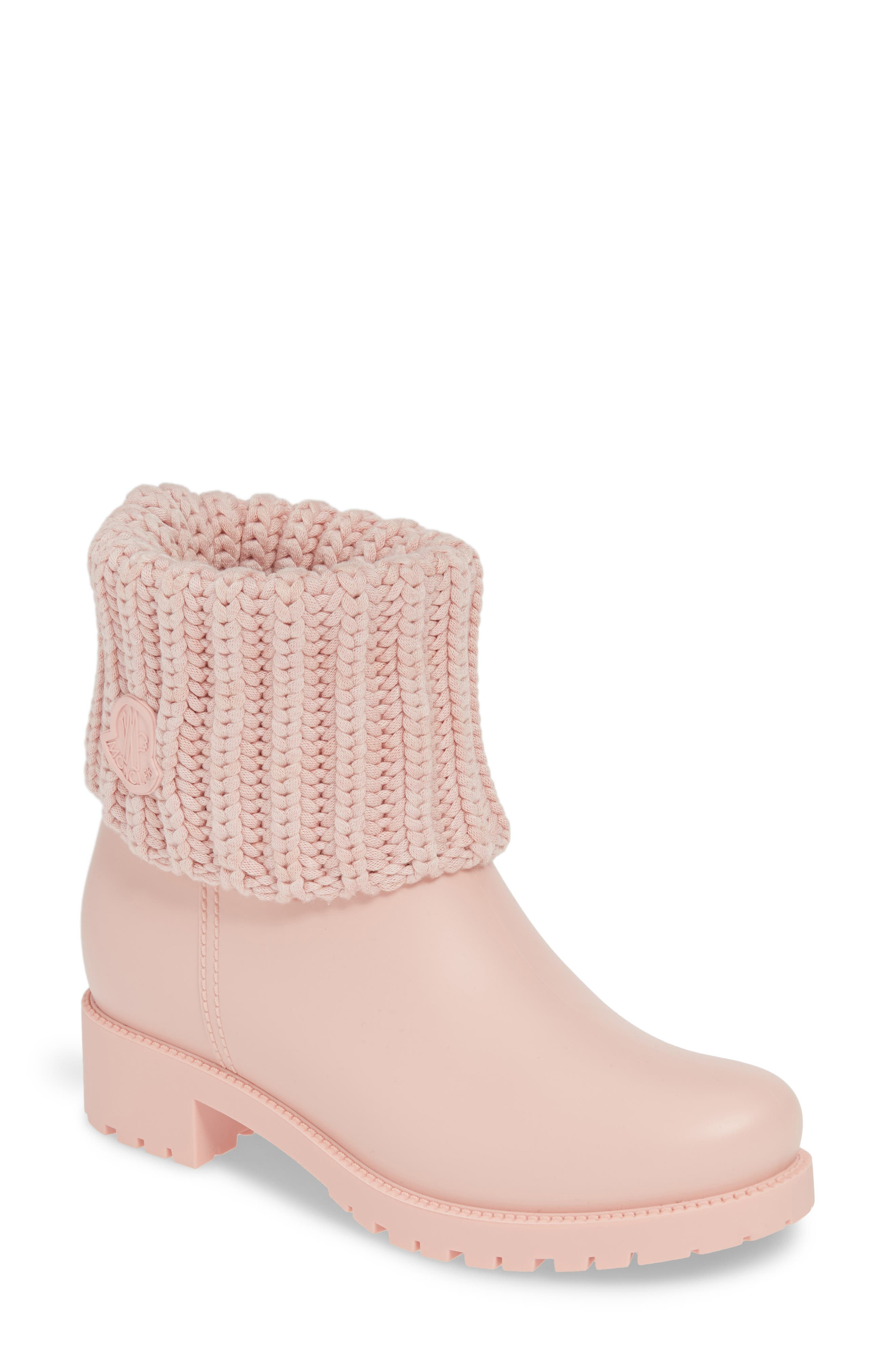 Moncler Ginette Stivale Knit Cuff Water Resistant Rain Boot